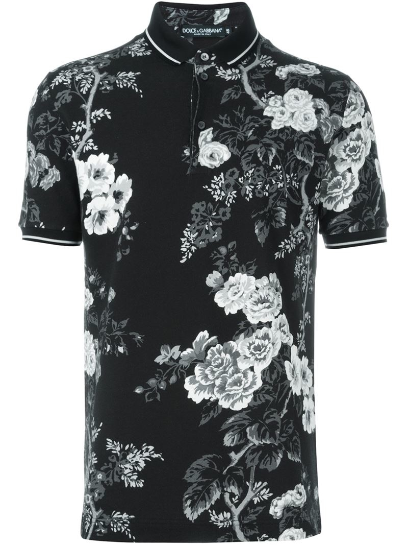 Dolce gabbana rose print polo shirt in black for men lyst for Dolce and gabbana printed t shirts