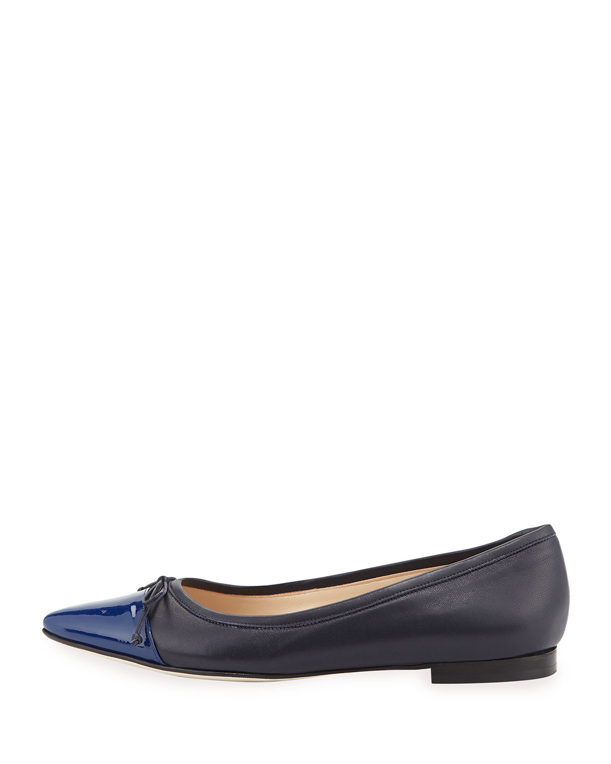 cheap with credit card Manolo Blahnik Metallic Cap-Toe Flats buy cheap store low price cheap online CY3SWNe