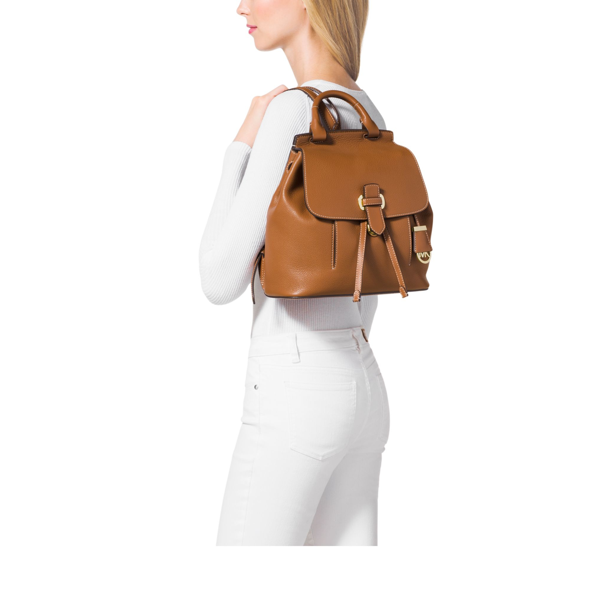 dfd65a1d7772 Michael Kors Romy Medium Leather Backpack in Brown - Lyst