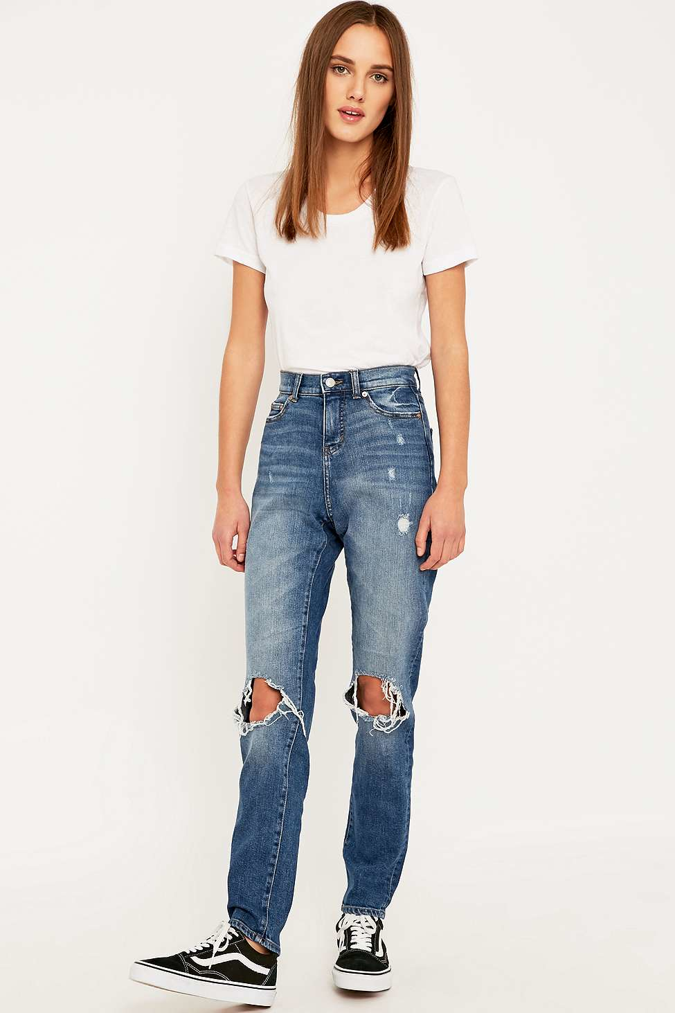 Cheap monday Donna Ripped Blue Straight Leg Jeans in Blue | Lyst