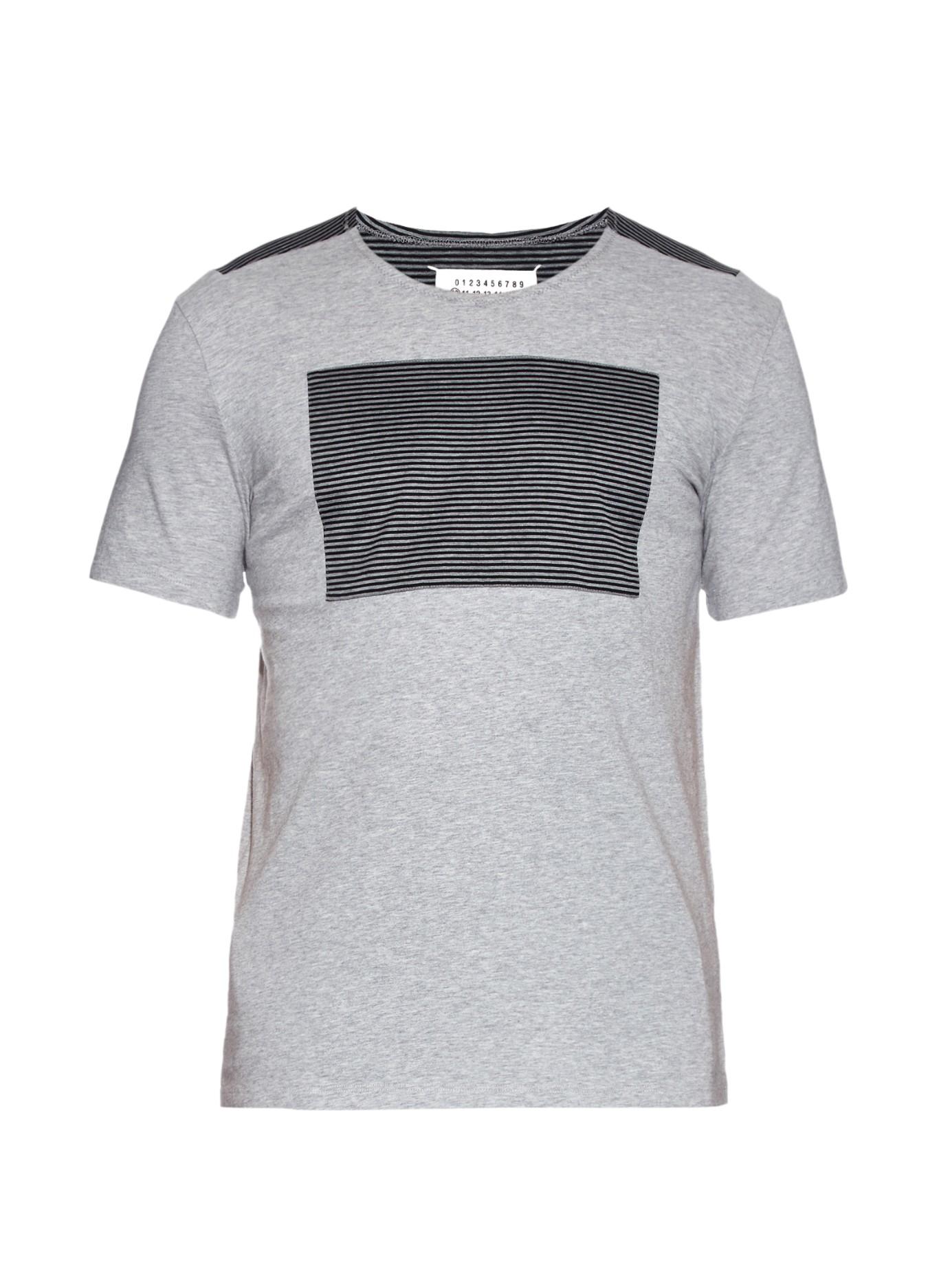 Maison margiela striped panels cotton jersey t shirt in Grey striped t shirt
