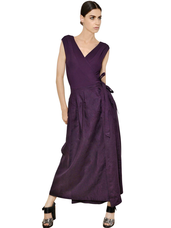 Lyst Max Mara Belted Linen Wrap Style Dress In Purple