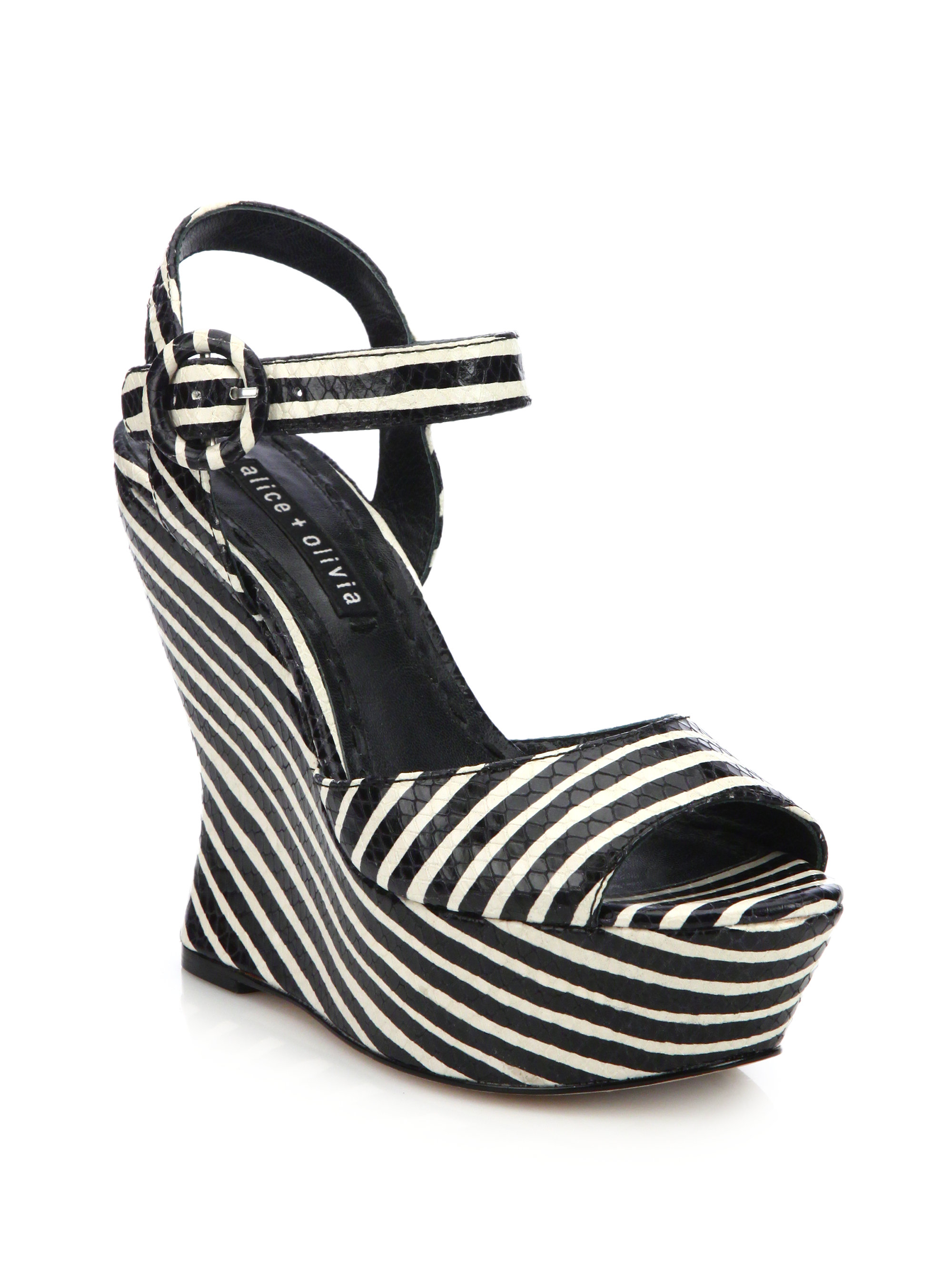 Alice + Olivia Leather Wedge Sandals amazing price online popular online visit cheap online pictures for sale lpPxfN