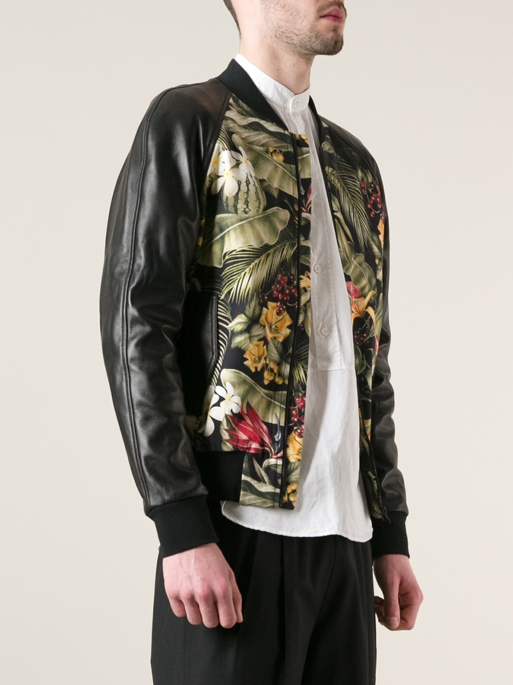 Lyst - Ami Floral-Print Leather Bomber Jacket in Black for Men