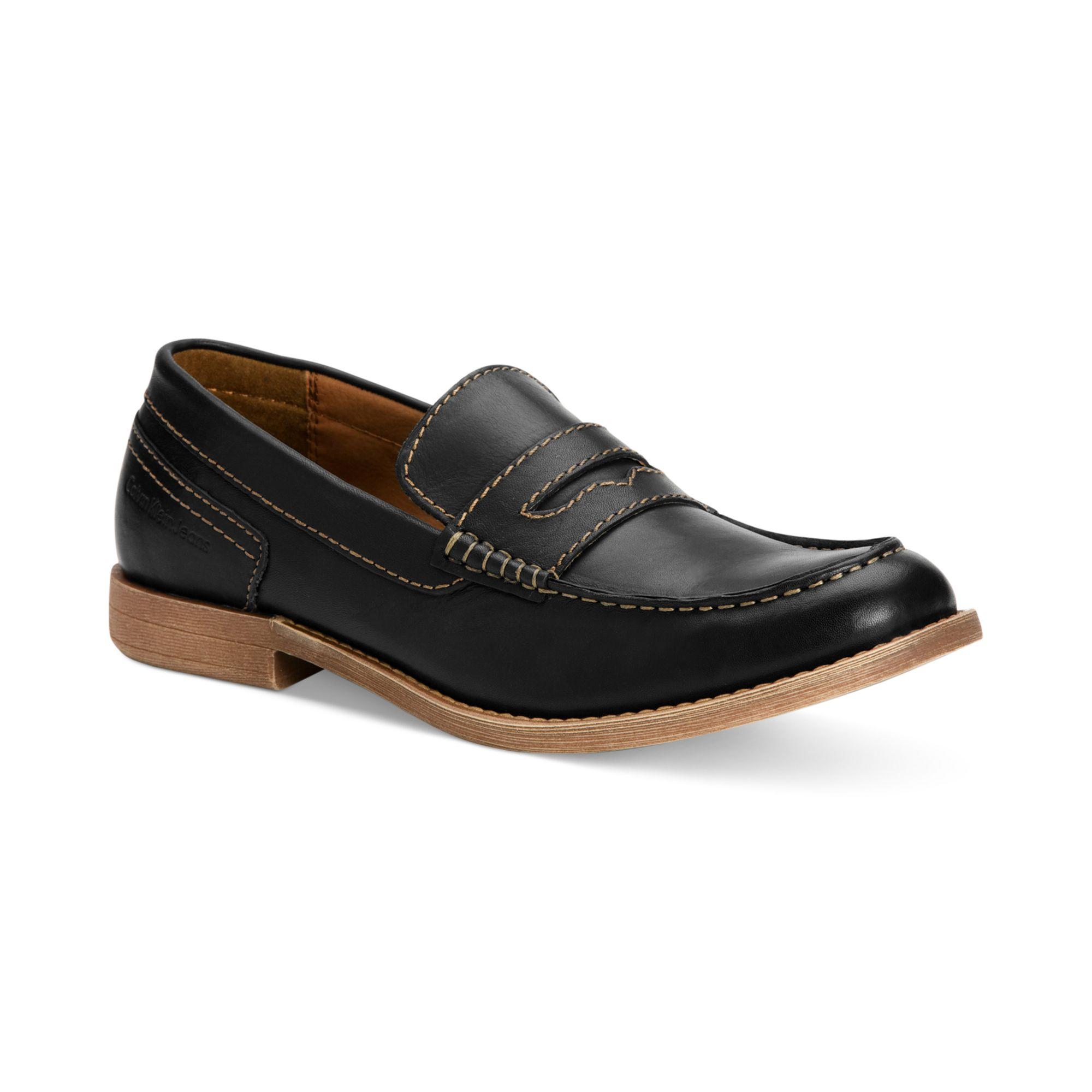 calvin klein prezley slip on shoes in black