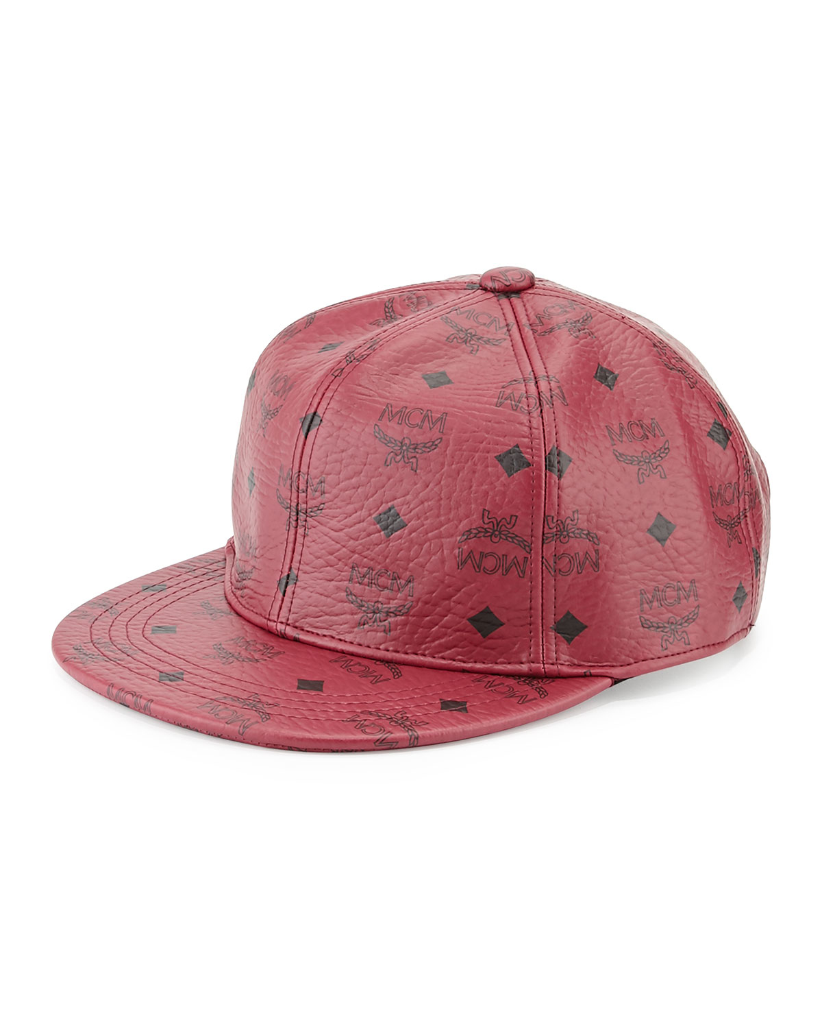 Mcm Logo Print Canvas Cap In Red For Men Lyst