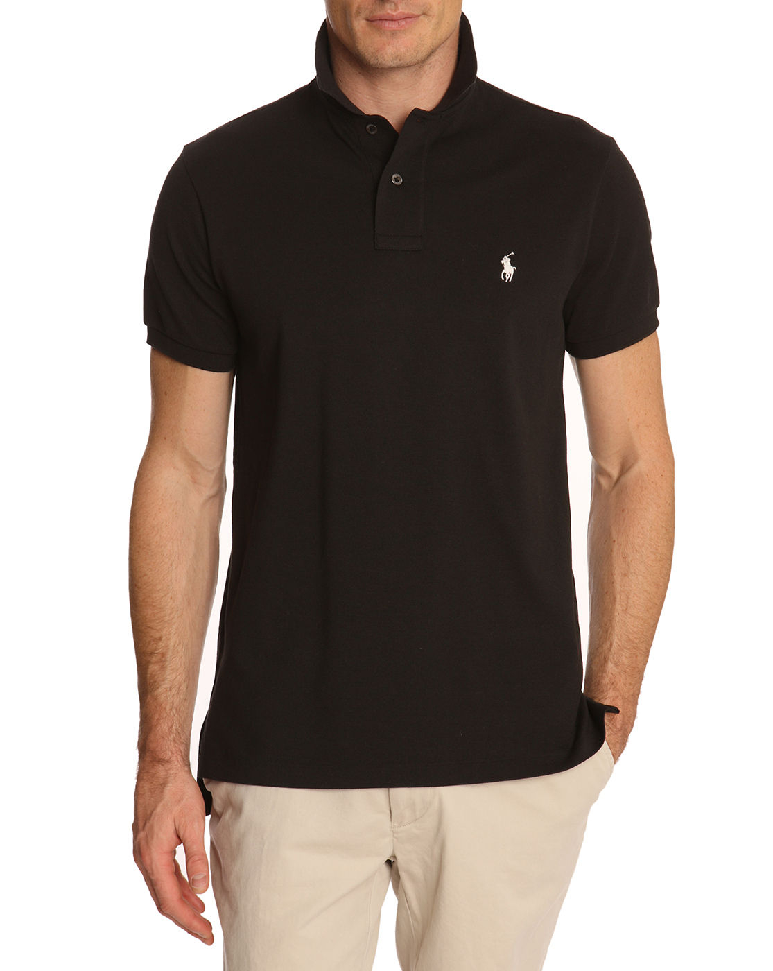 Polo ralph lauren black slim fit stretch polo shirt in for Mens slim polo shirts