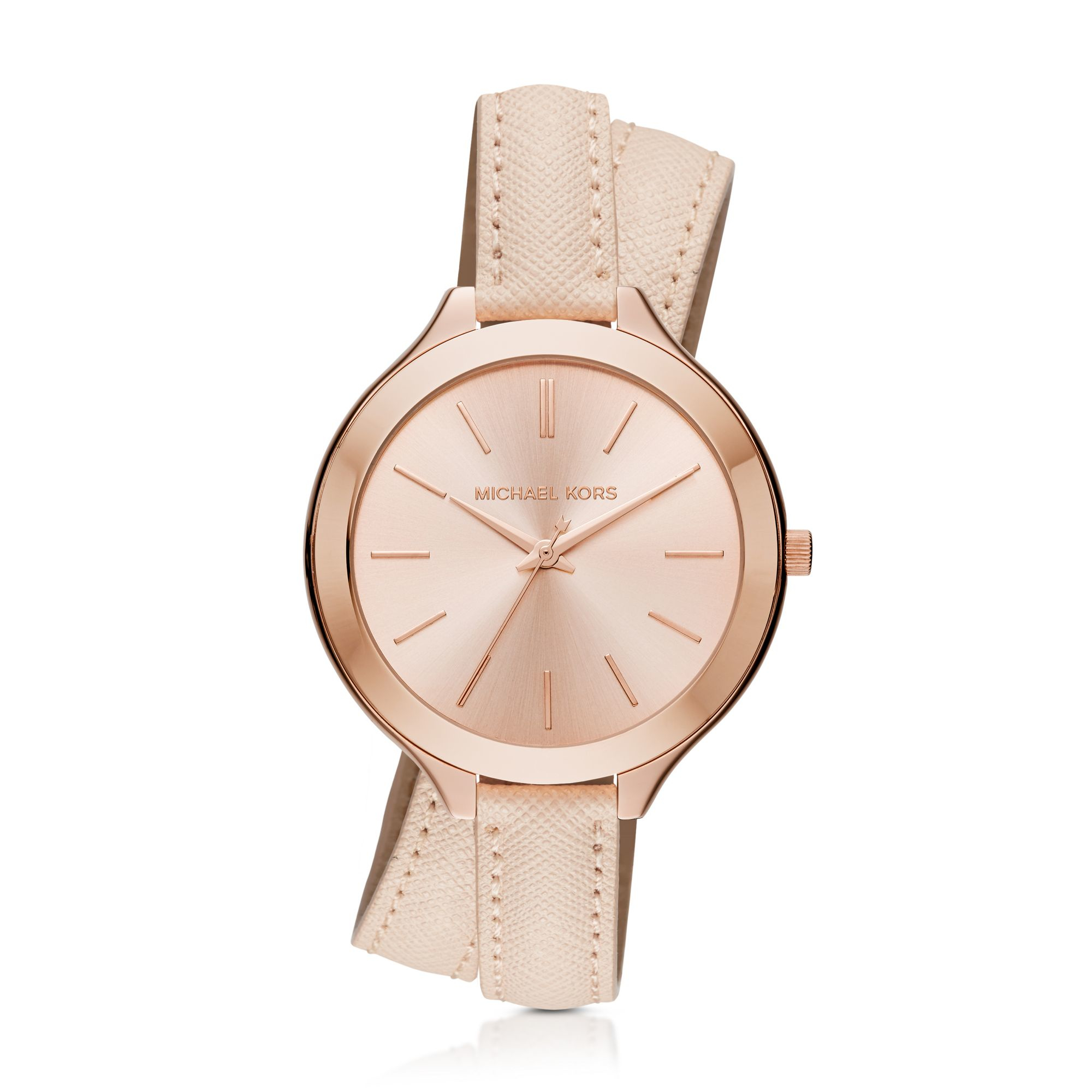 e486769c0 ... michael kors women s pink slim runway rose gold tone and leather wrap  watch ...