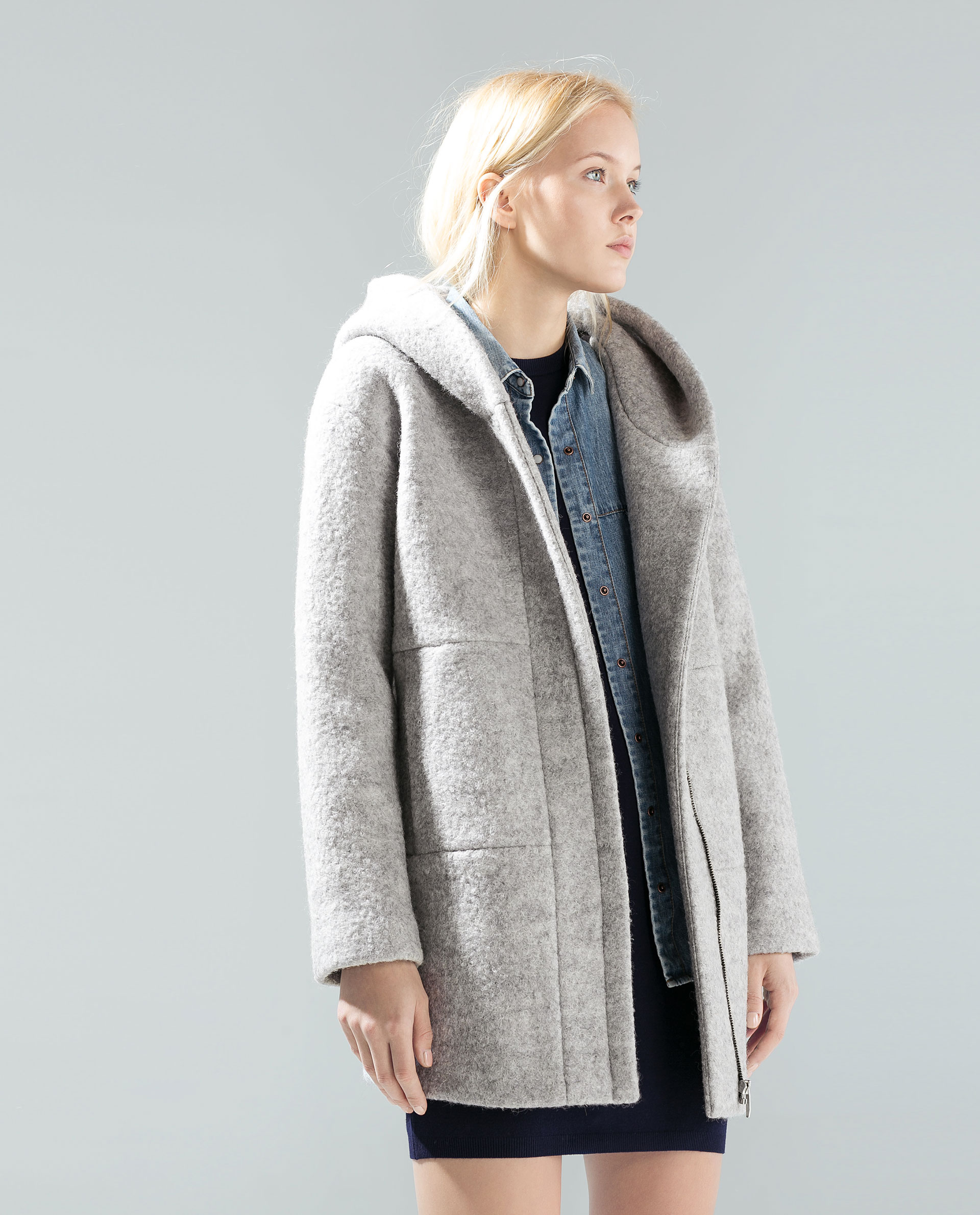 Grey Wool Coat With Hood