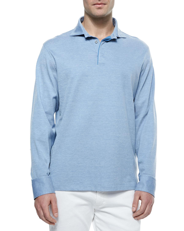 Lyst ermenegildo zegna long sleeve pique knit polo shirt for Knitted polo shirt mens