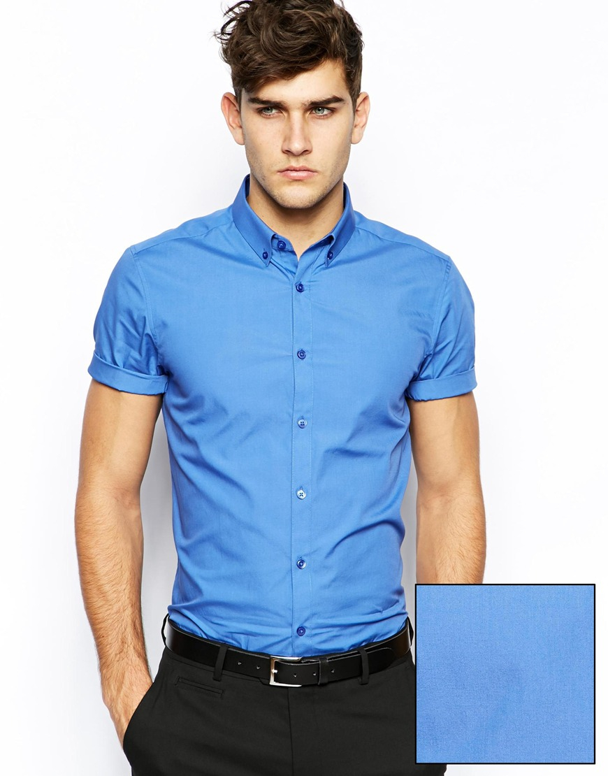 Asos Smart Shirt in Short Sleeve with Button Down Collar in Cotton ...