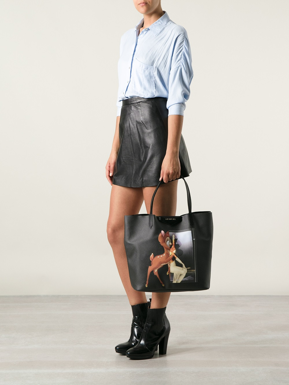4639845beb Lyst - Givenchy Bambi Coated-Canvas Tote in Black