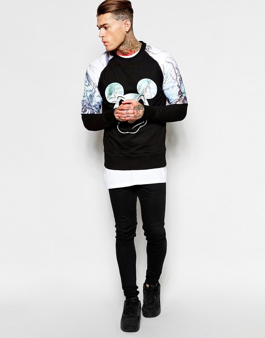 eleven paris x life is a joke mickey sweatshirt in black for men lyst. Black Bedroom Furniture Sets. Home Design Ideas