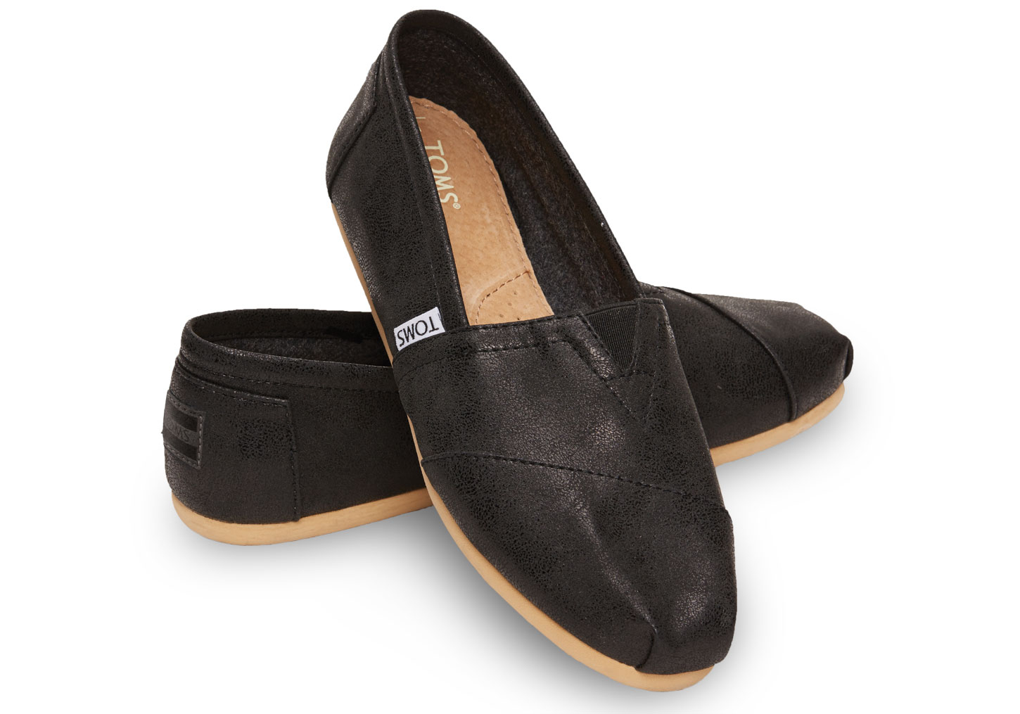 ff515e9c9 TOMS Black Metallic Synthetic Leather Women's Classics in Black - Lyst
