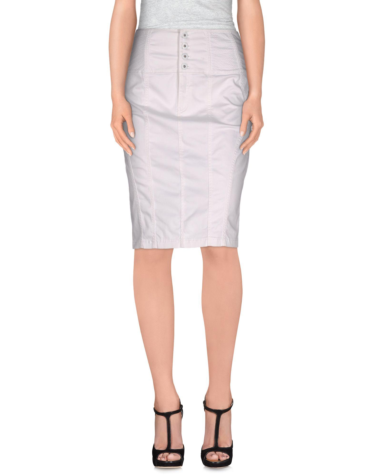 guess knee length skirt in white lyst