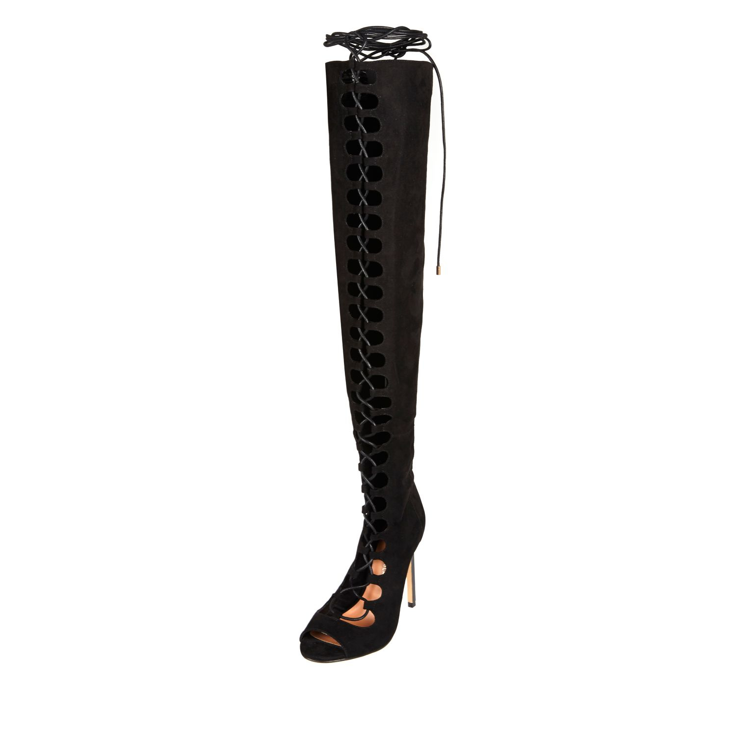 River island Black Lace-up Over The Knee Boots in Black | Lyst