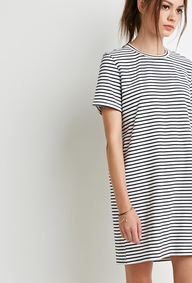 forever 21 striped t shirt dress in white lyst. Black Bedroom Furniture Sets. Home Design Ideas