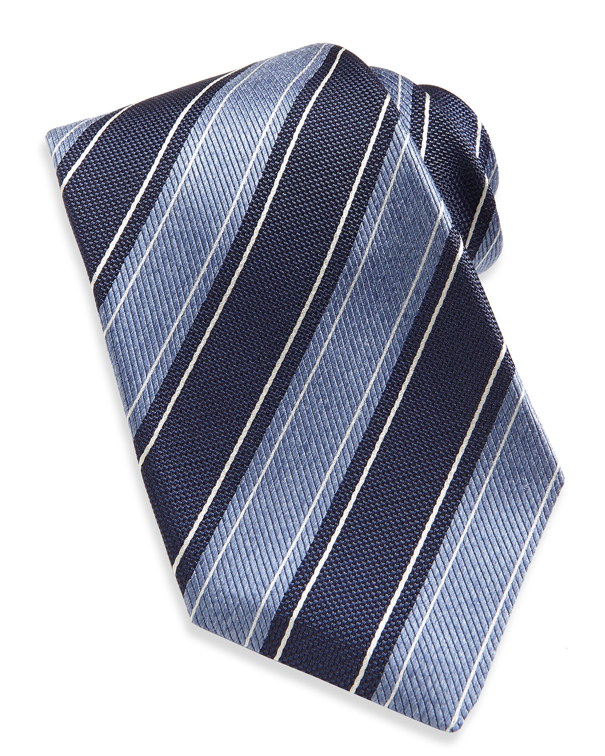 kiton wide rope stripe woven tie in blue for navy