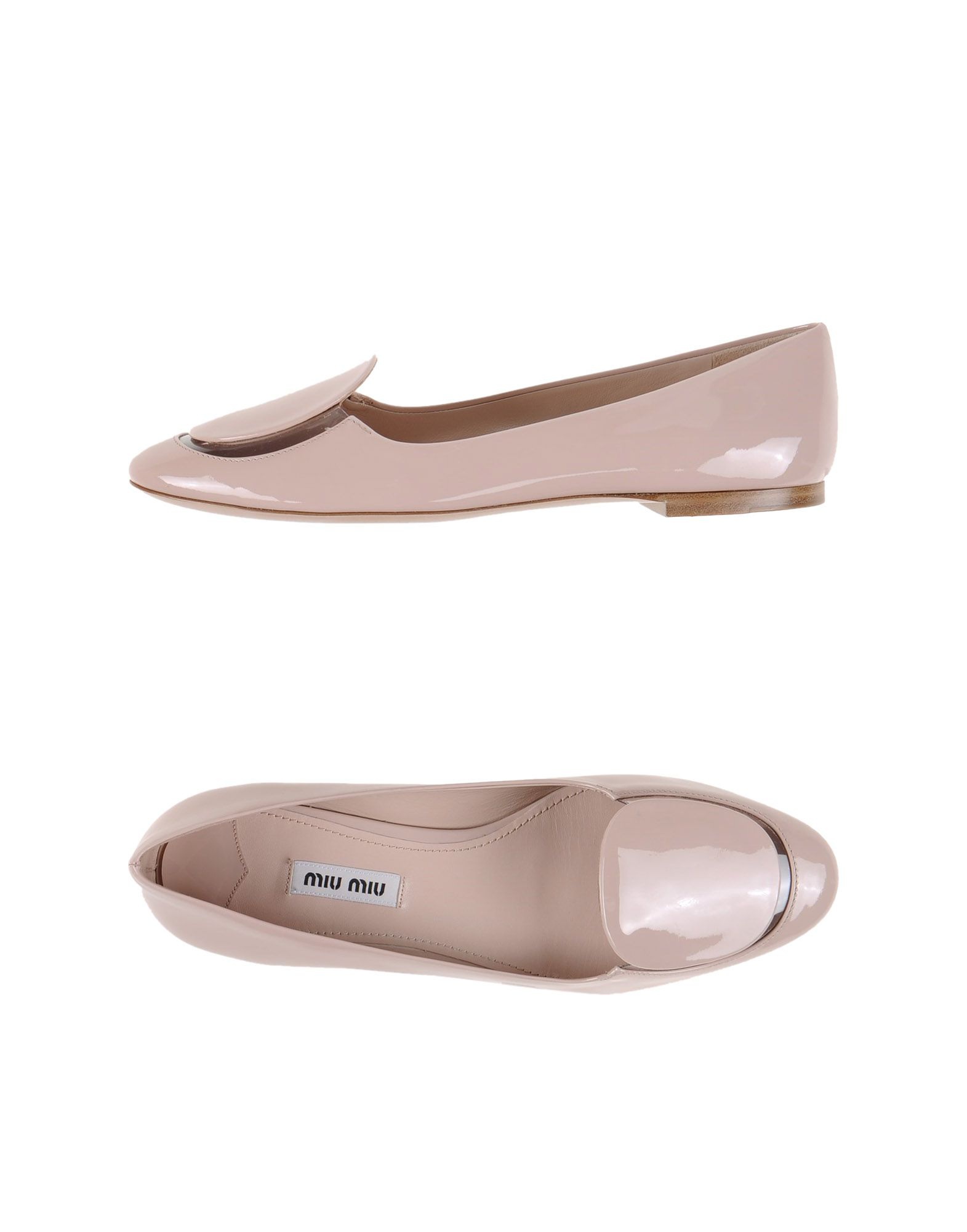 lyst miu miu leather ballet flats in pink. Black Bedroom Furniture Sets. Home Design Ideas