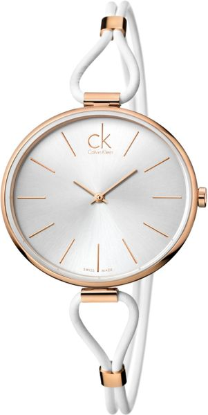 Calvin Klein Womens Swiss Selection White Leather Cord Strap 38mm K3v236l6 in White - Lyst