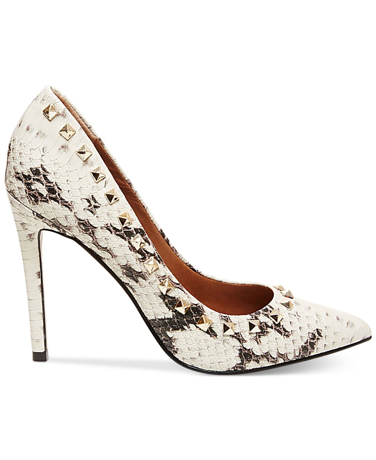 ec4826ed5cc Lyst - Steve Madden Women s Proto-s Studded Pumps in Natural