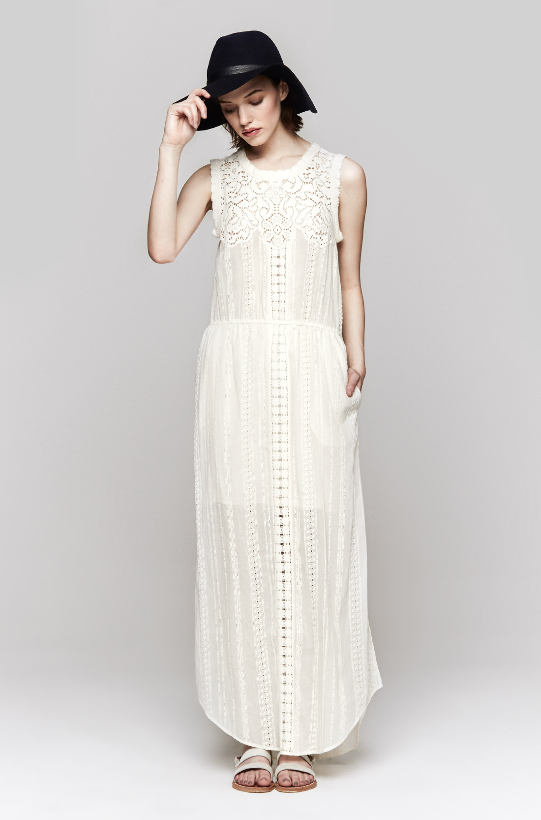 Sea Lace Eyelet Long Dress In White Cream Lyst