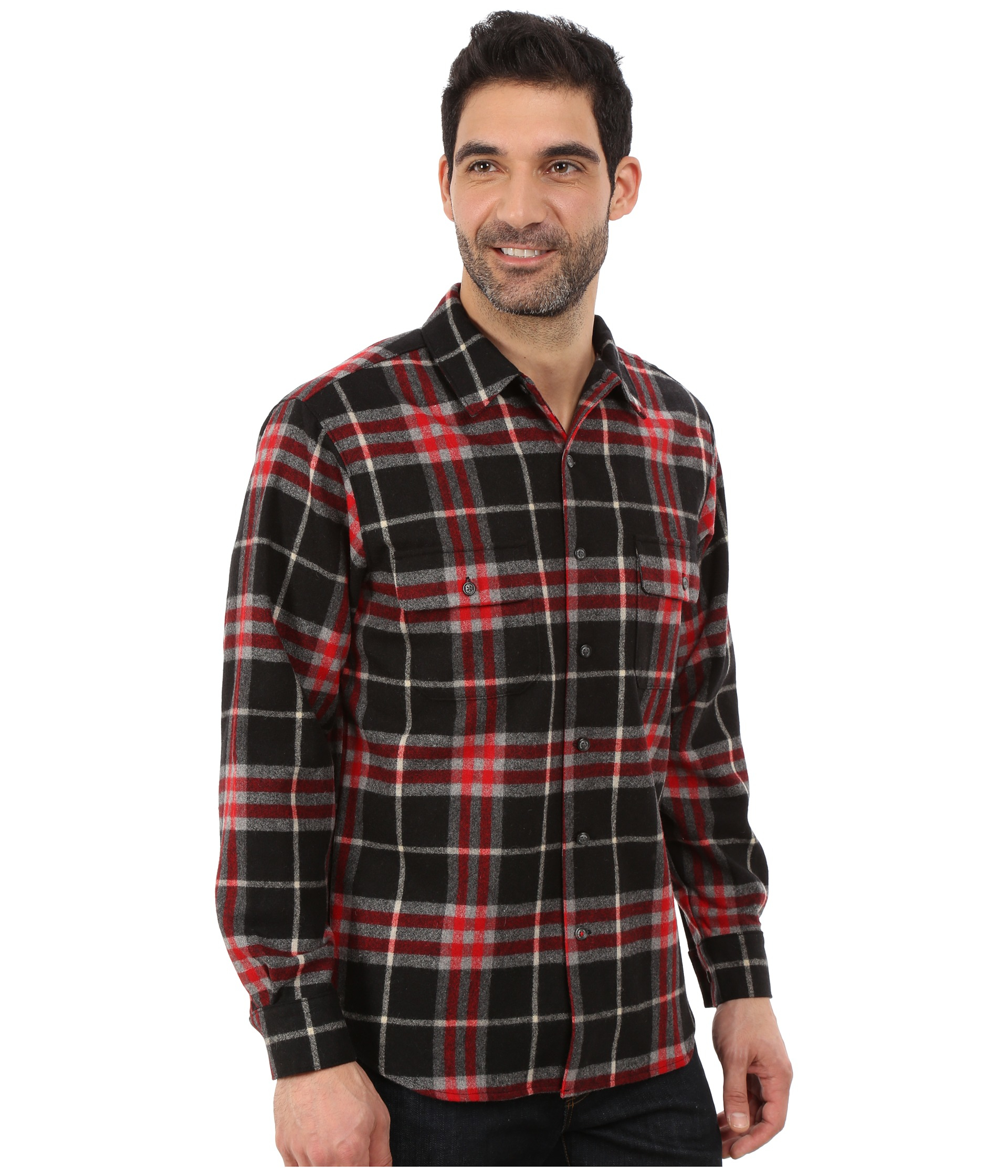 Woolrich bering wool plaid shirt in red for men lyst for Mens red wool shirt