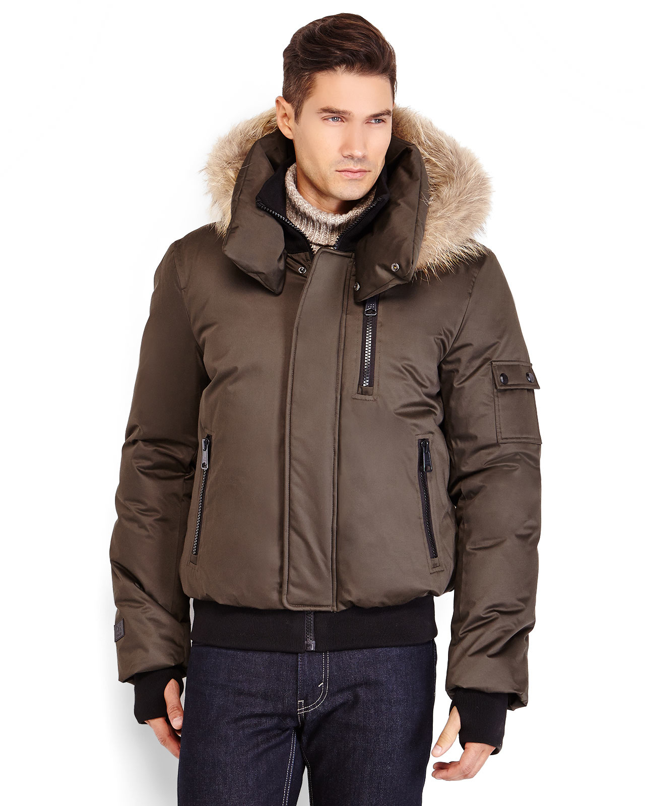 Soia & kyo Real Fur Trim Hooded Down Bomber Jacket in Green for ...