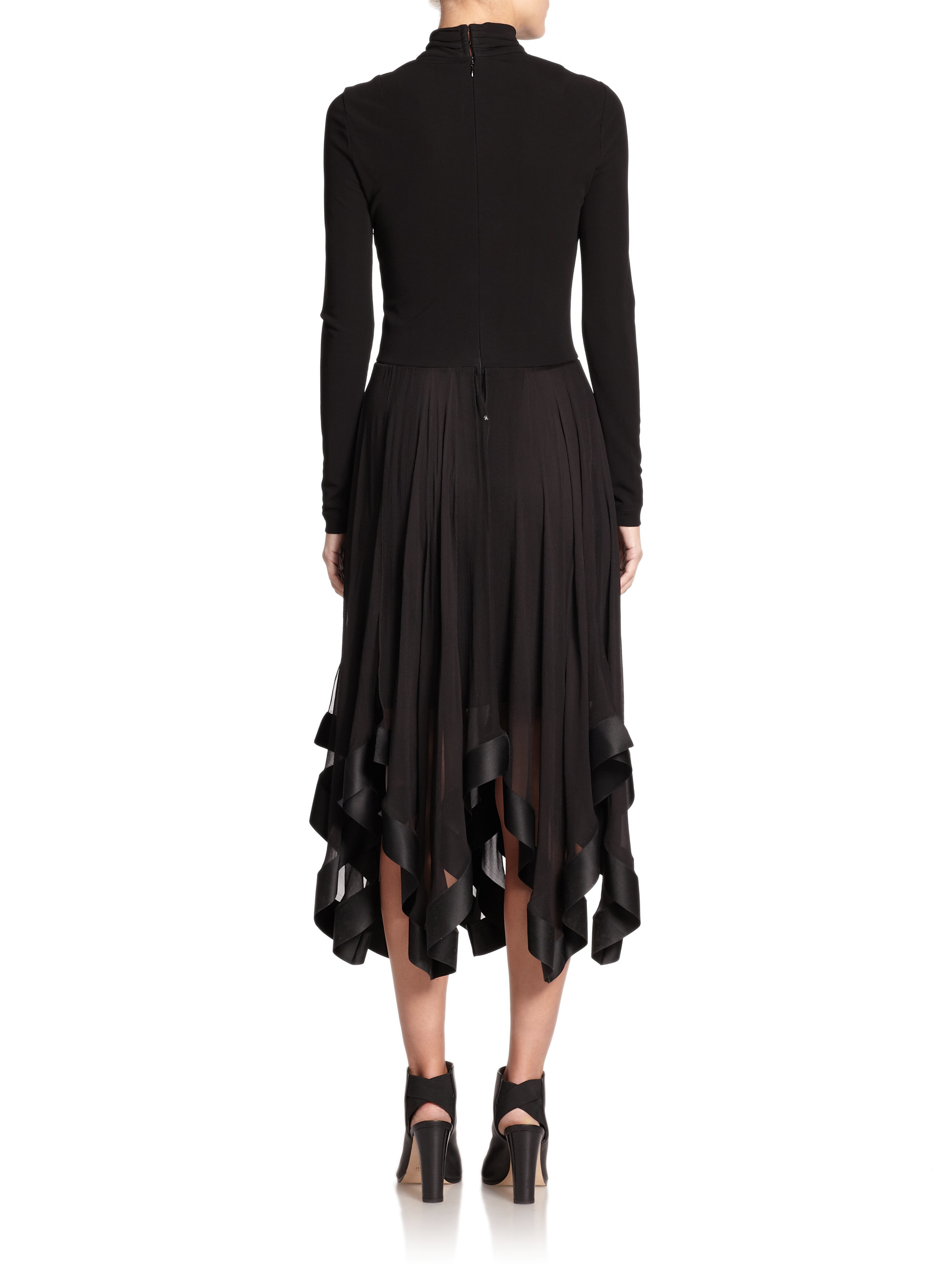 Lyst Nina Ricci Mixed Media Handkerchief Hem Dress In Black