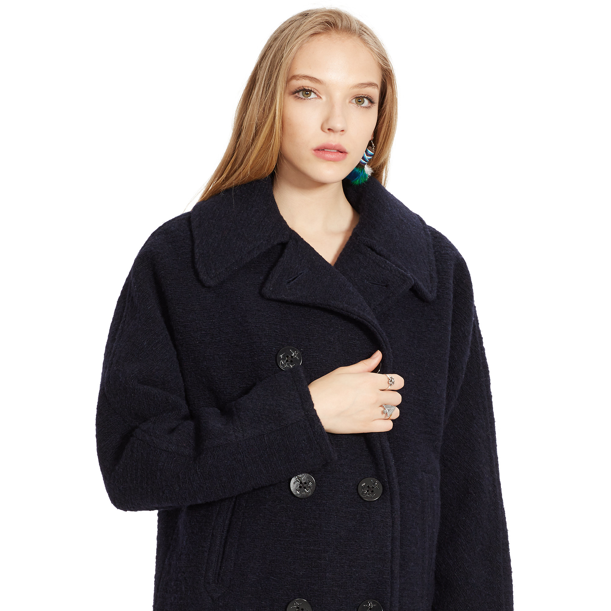 Navy pea coats for women
