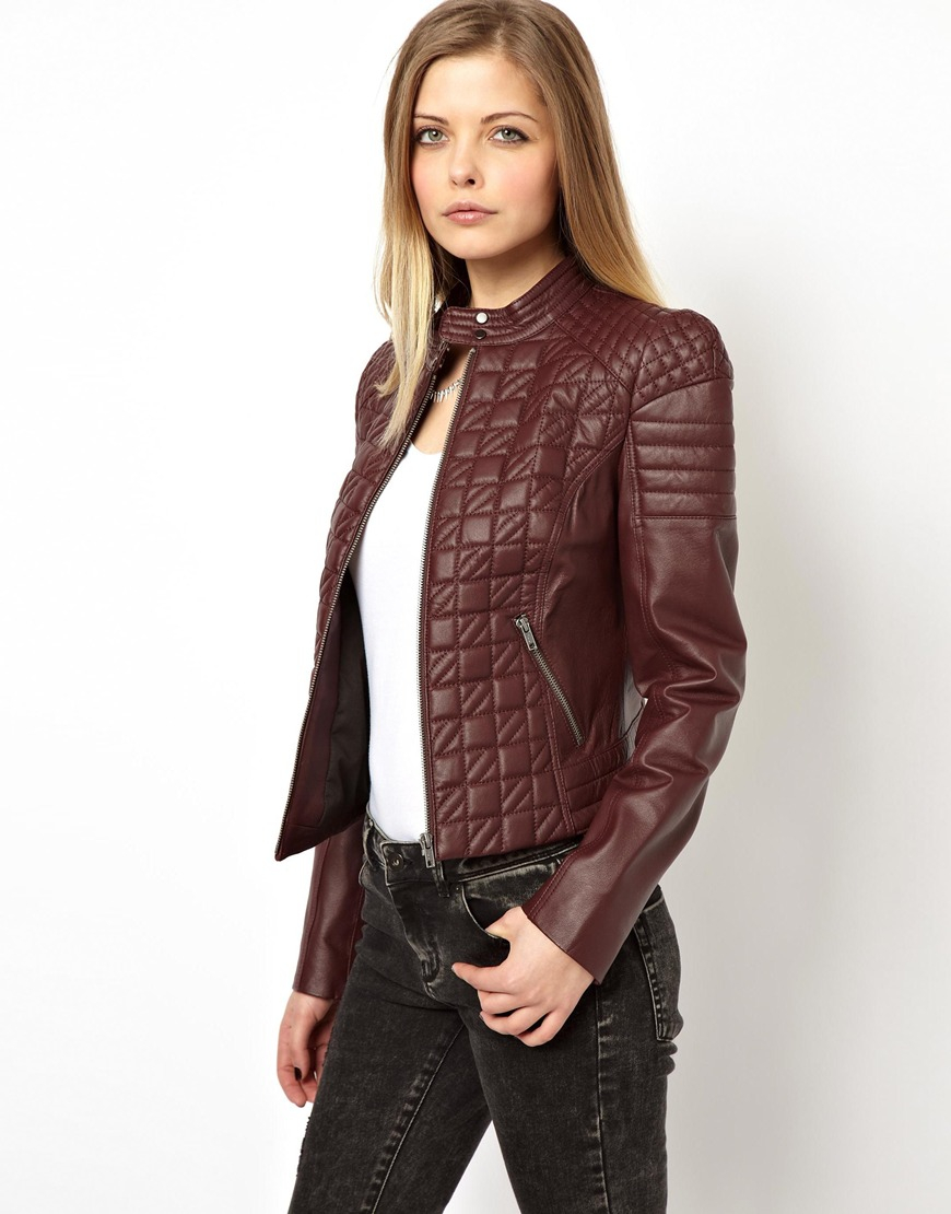 Asos Leather Jacket in Quilt Structured Shoulder in Purple | Lyst : asos quilted leather jacket - Adamdwight.com