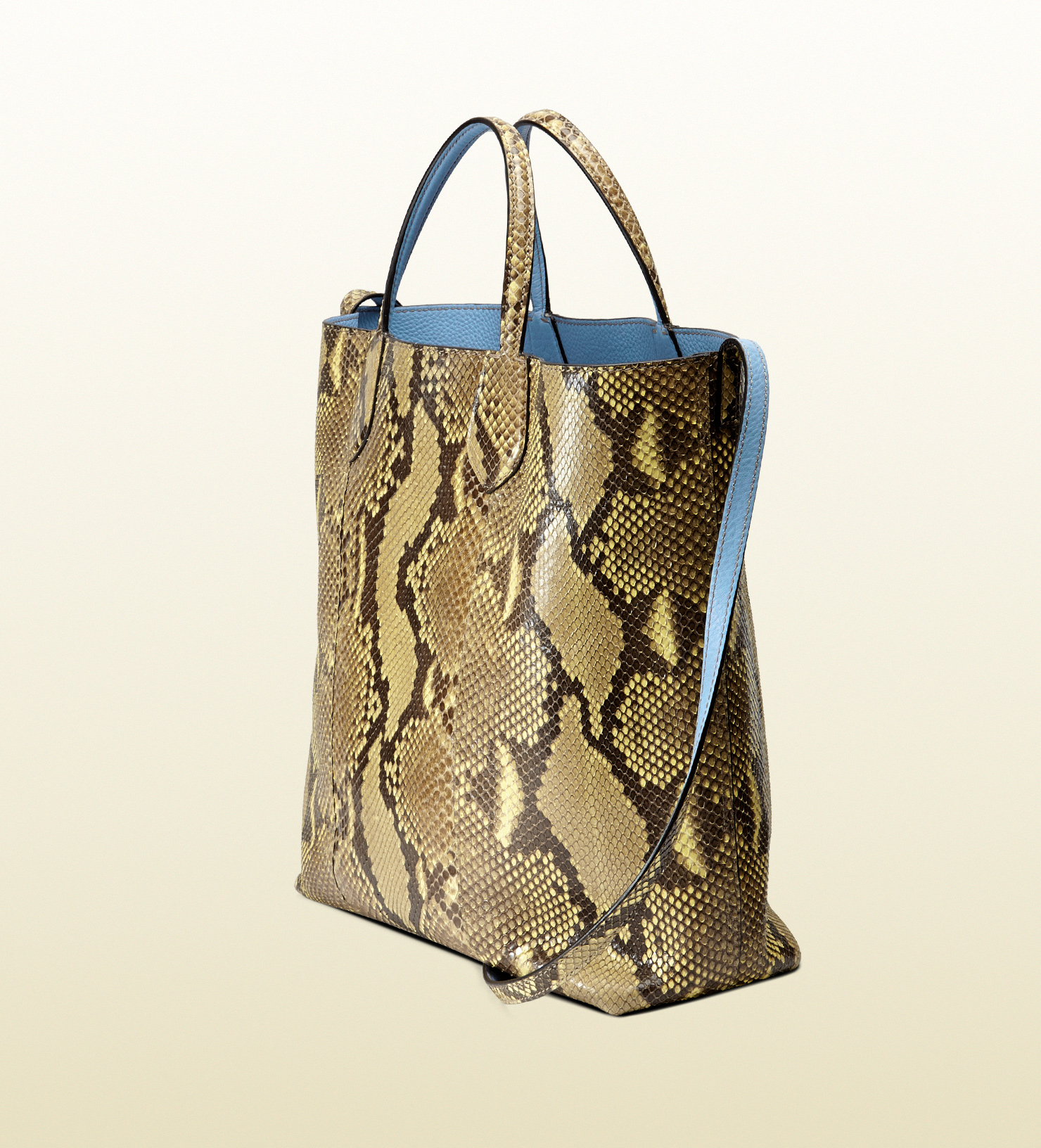 f83aaab19c0 Lyst - Gucci Ramble Reversible Python And Leather Tote in Yellow