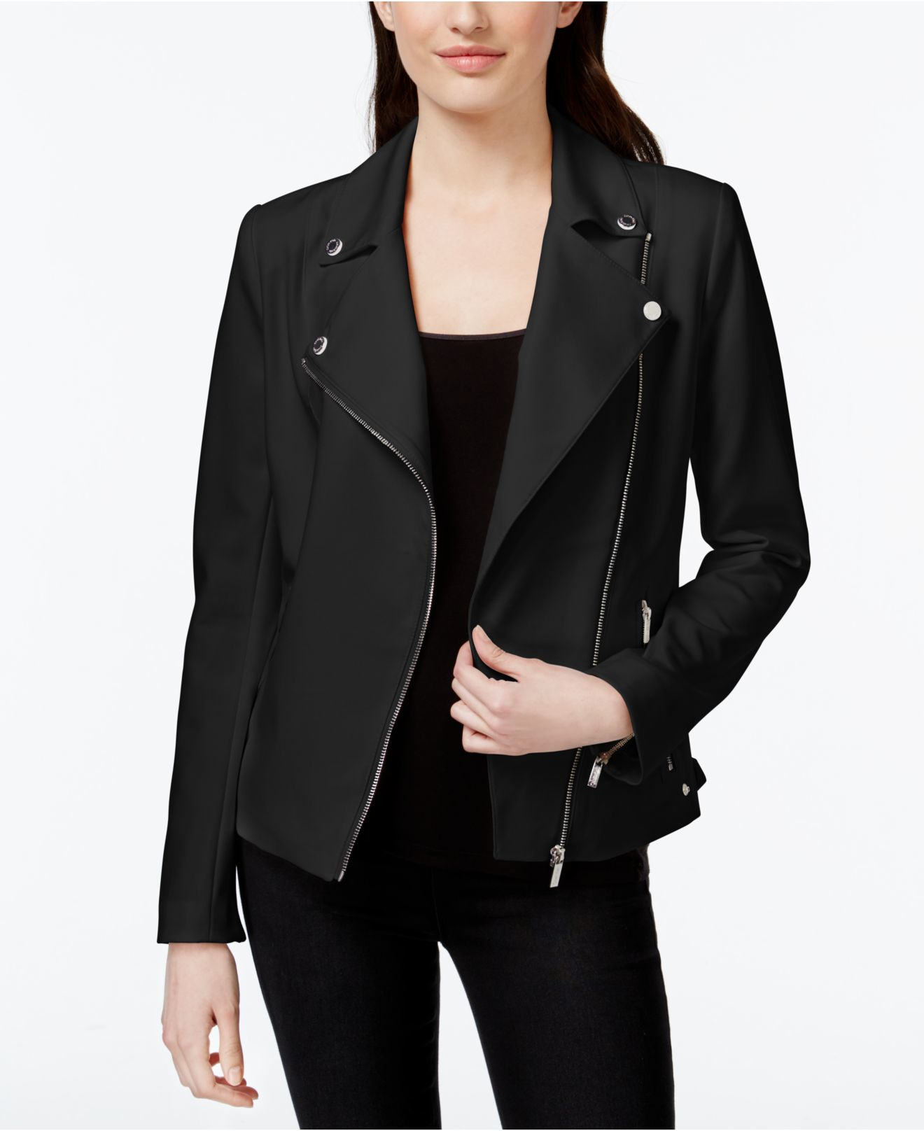 Calvin klein Asymmetrical Zip Moto Jacket in Black | Lyst