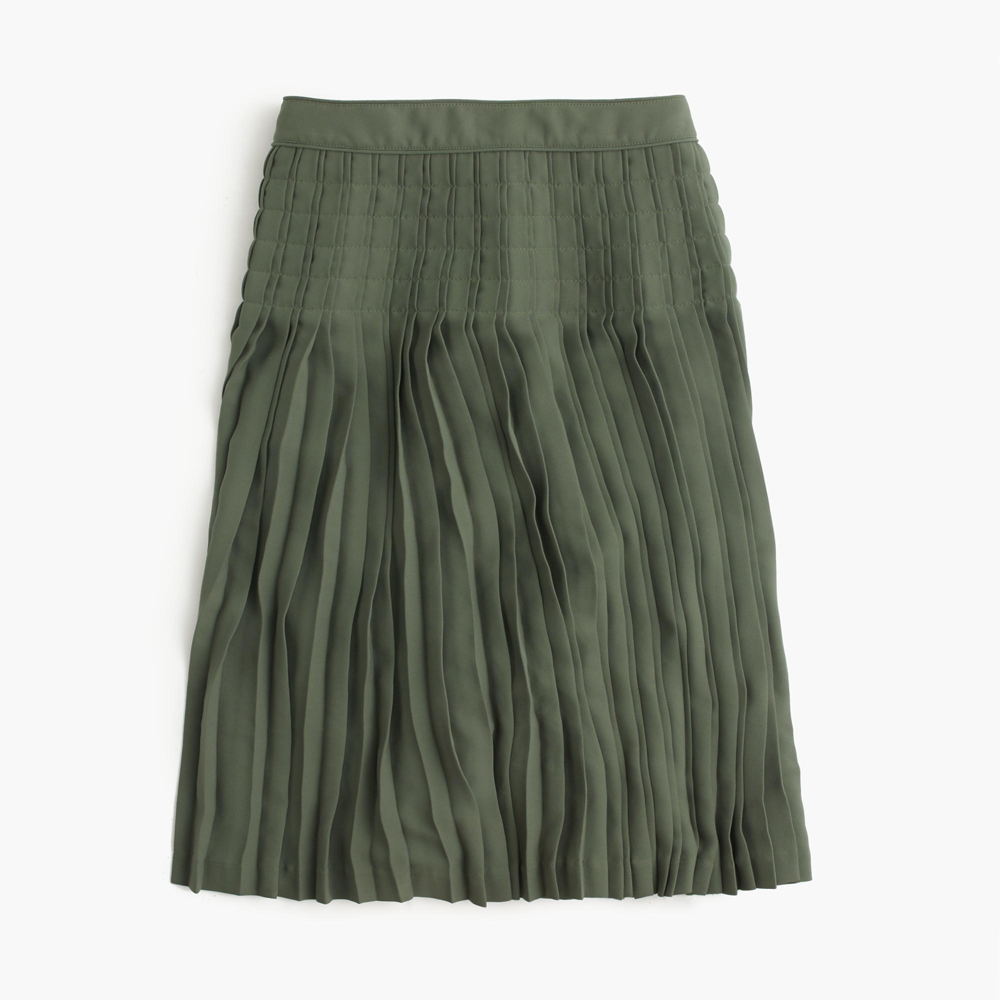 j crew micropleated midi skirt in green lyst
