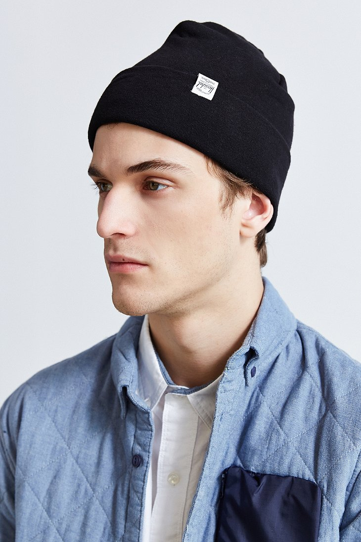 ... authentic lyst herschel supply co. rossland jersey beanie in black for  men 5aabe c9ece b64c99713e41