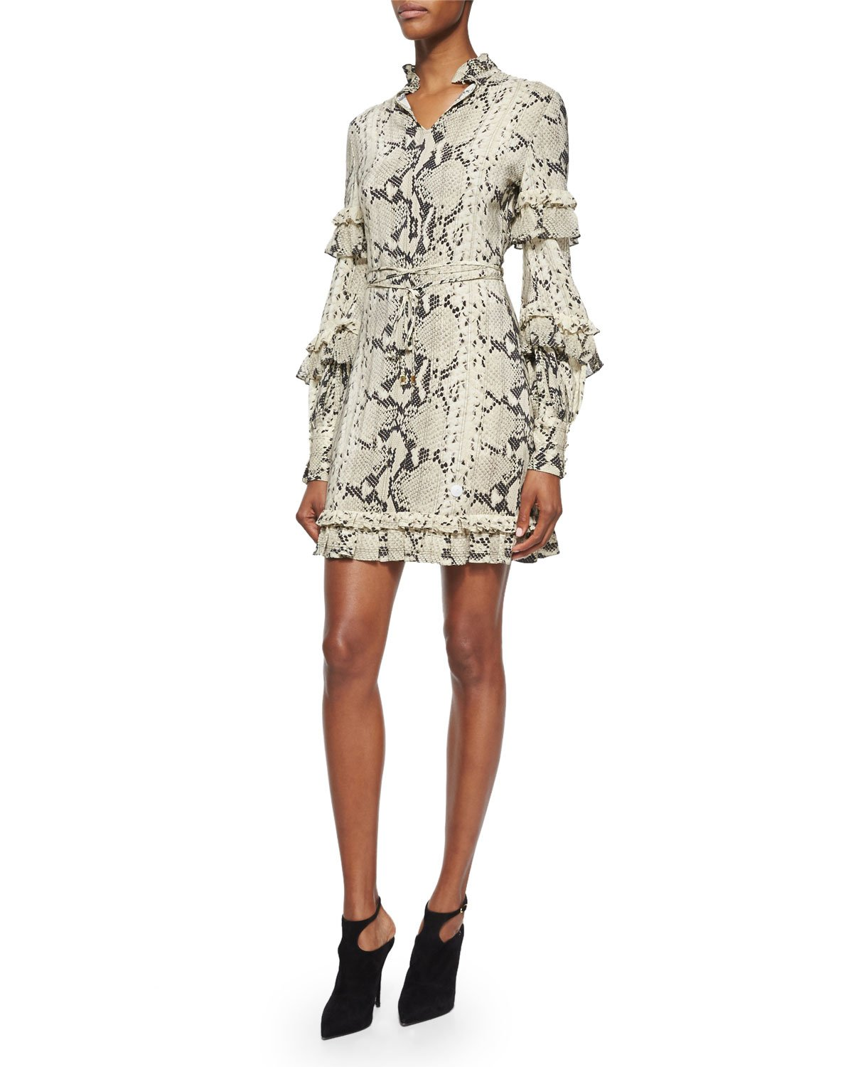 660e719a7654 Roberto Cavalli Long-sleeve Snake-print Ruffle Dress - Lyst