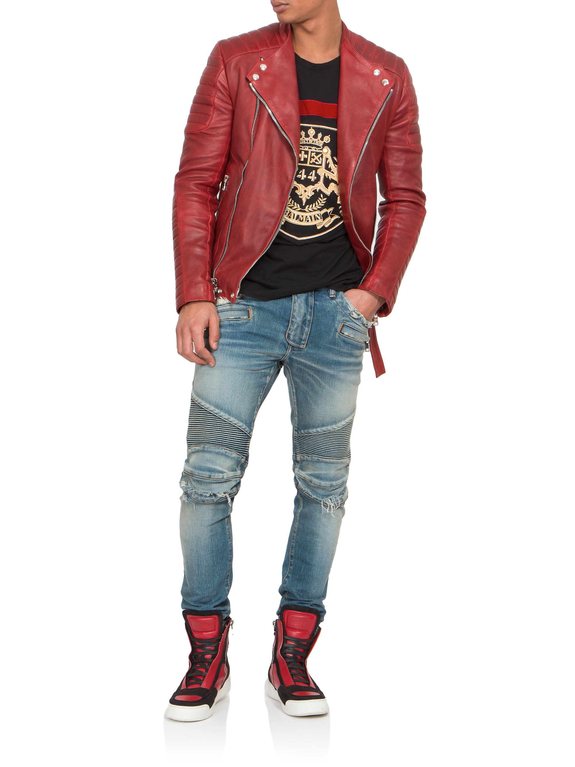 Lyst Balmain Quilted Leather Biker Jacket In Red For Men