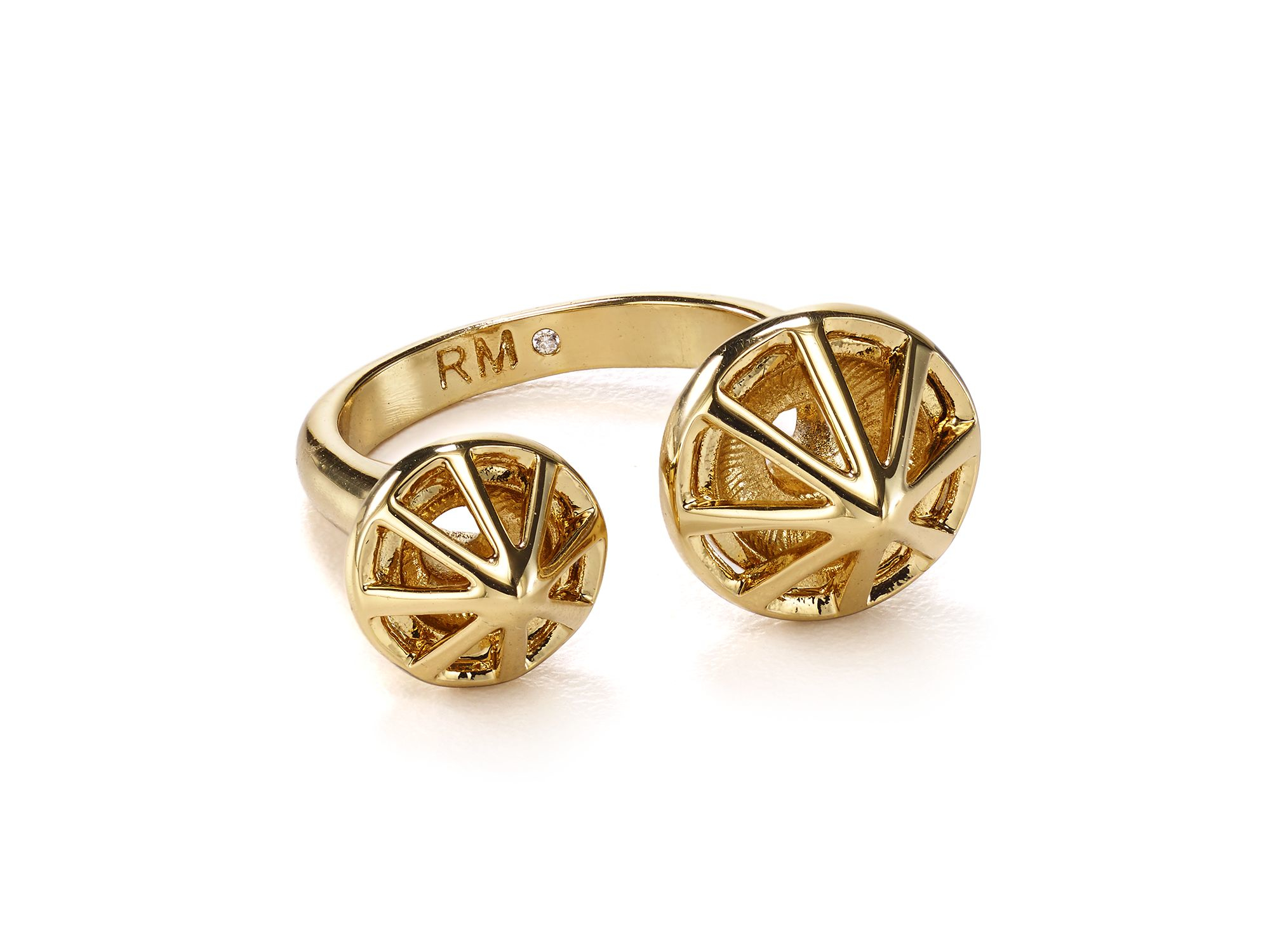 gold side caged rose ring rings diamond r bar