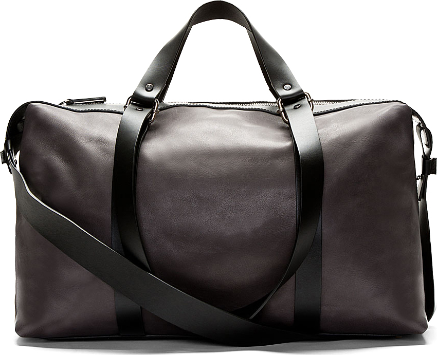 costume national grey leather duffle bag in gray for men