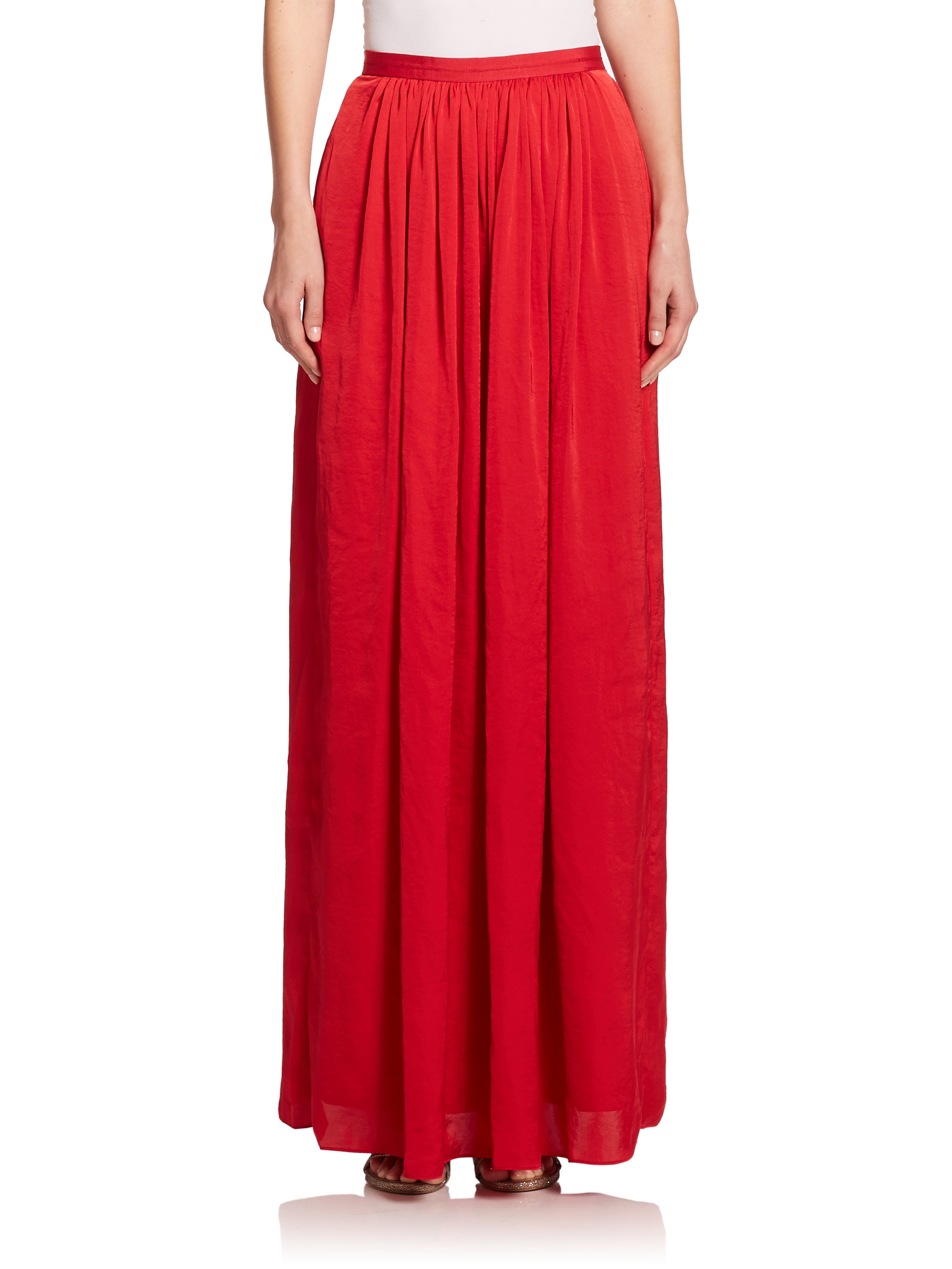 needle thread pandora pleated maxi skirt in lyst