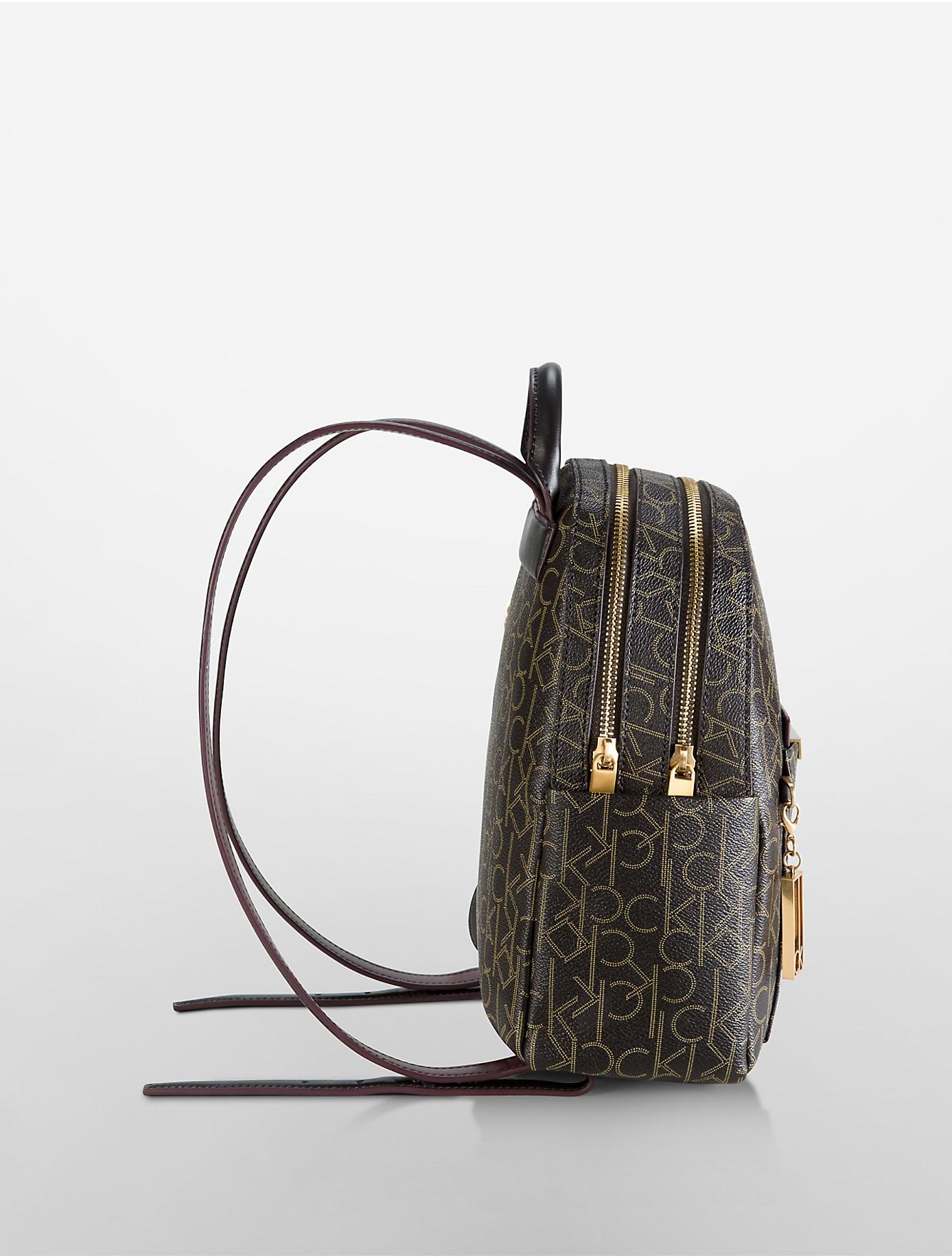 Calvin Klein Arianna Logo Double Zip Studio Backpack In