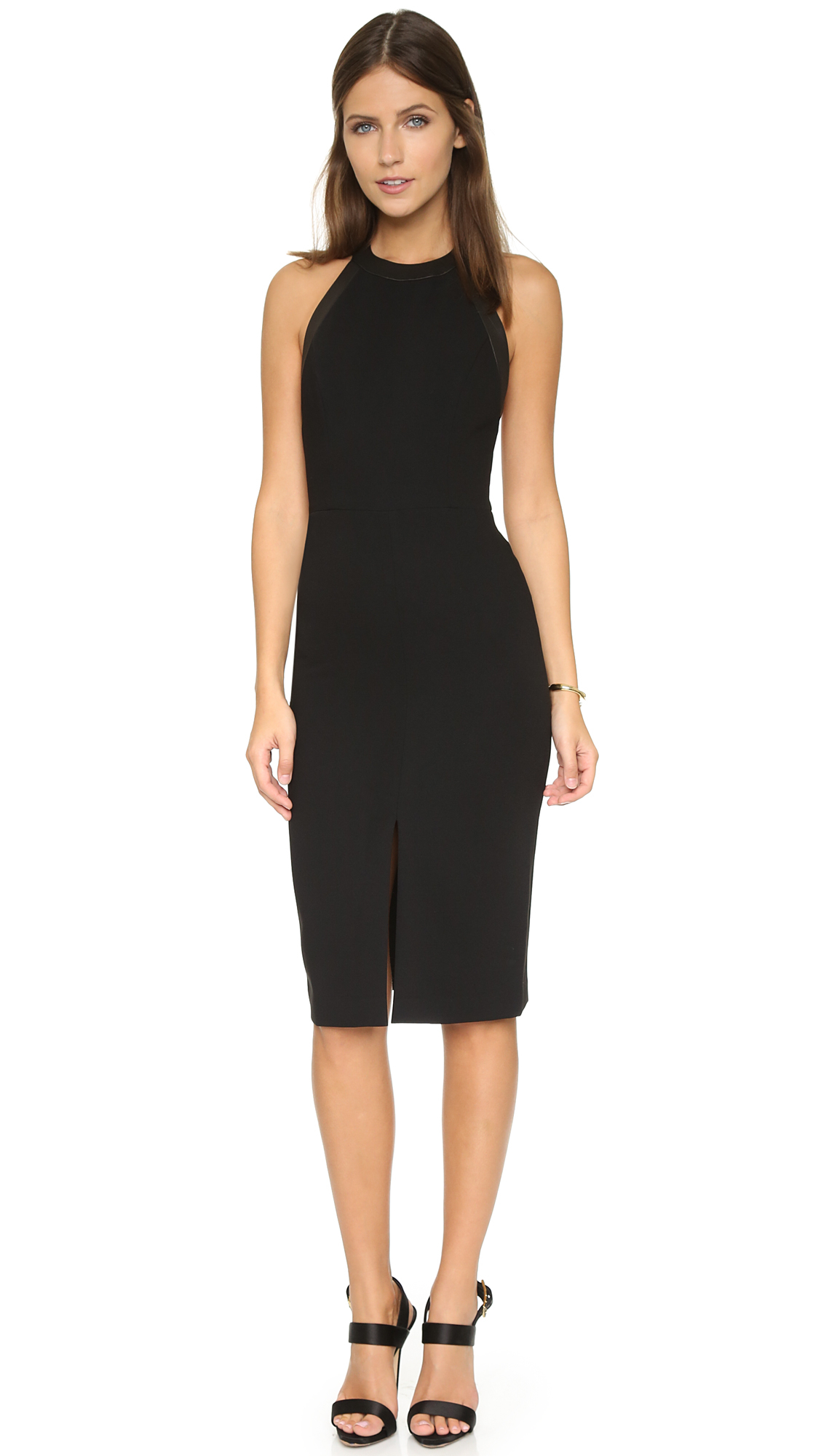 Lyst Alice Olivia Jase High Neck Fitted Dress In Black