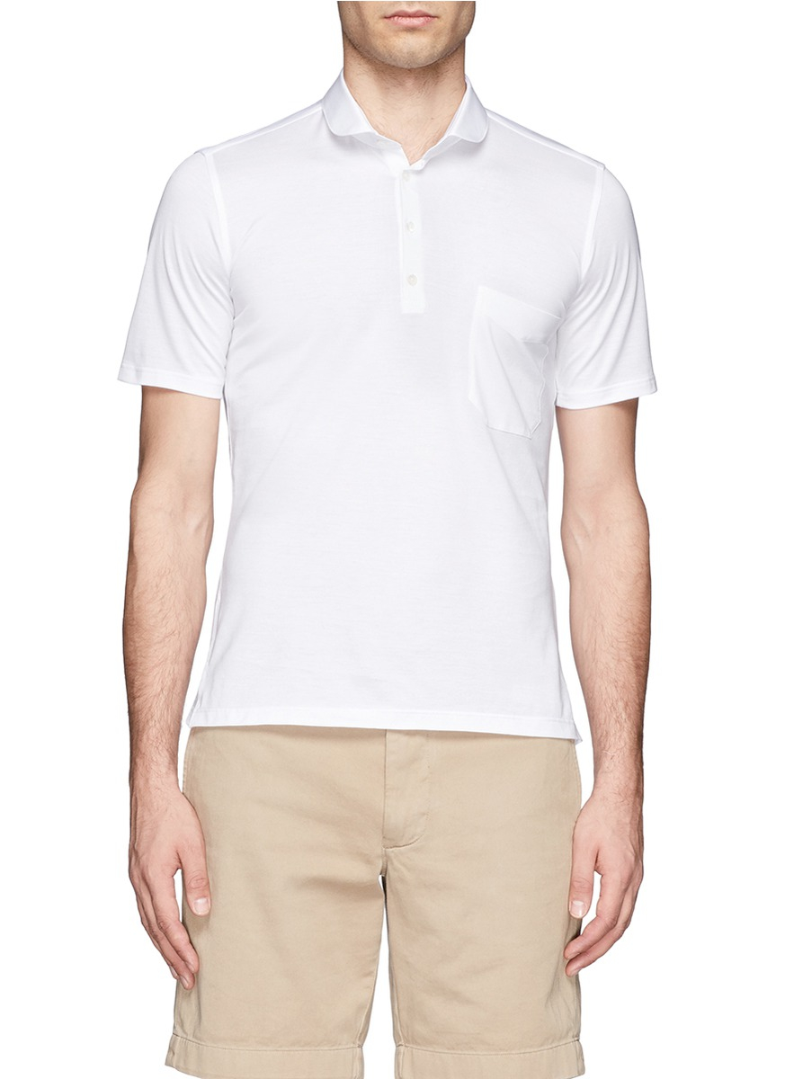 Mr start round collar polo shirt in white for men lyst for Round collar shirt men