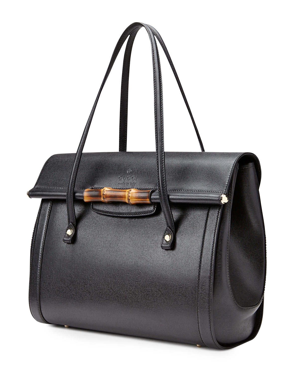 b869ba66a8 Gucci New Bullet Large Leather Top Handle Bag in Black - Lyst