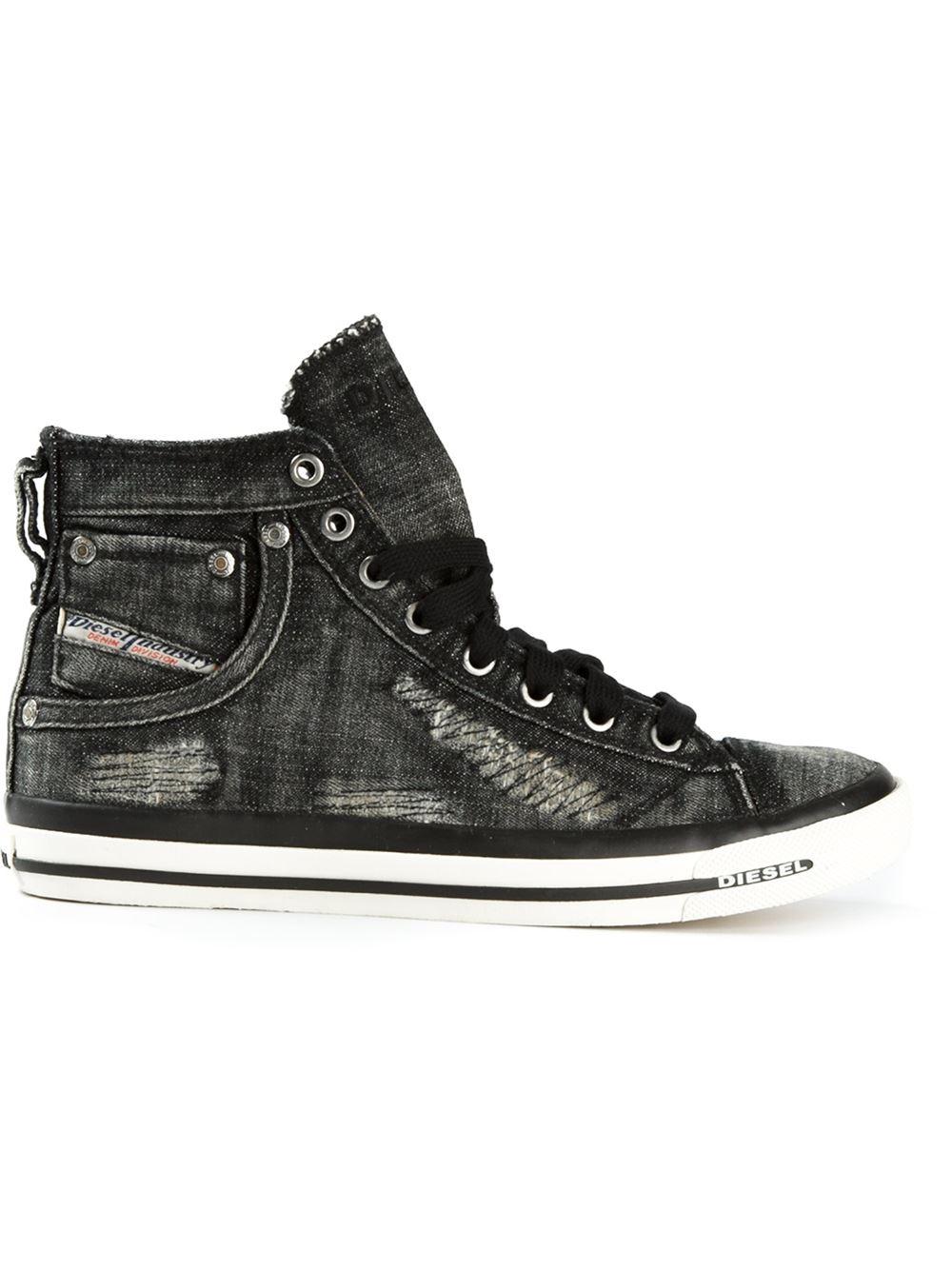 diesel 39 exposure 39 hi top sneakers in black lyst. Black Bedroom Furniture Sets. Home Design Ideas