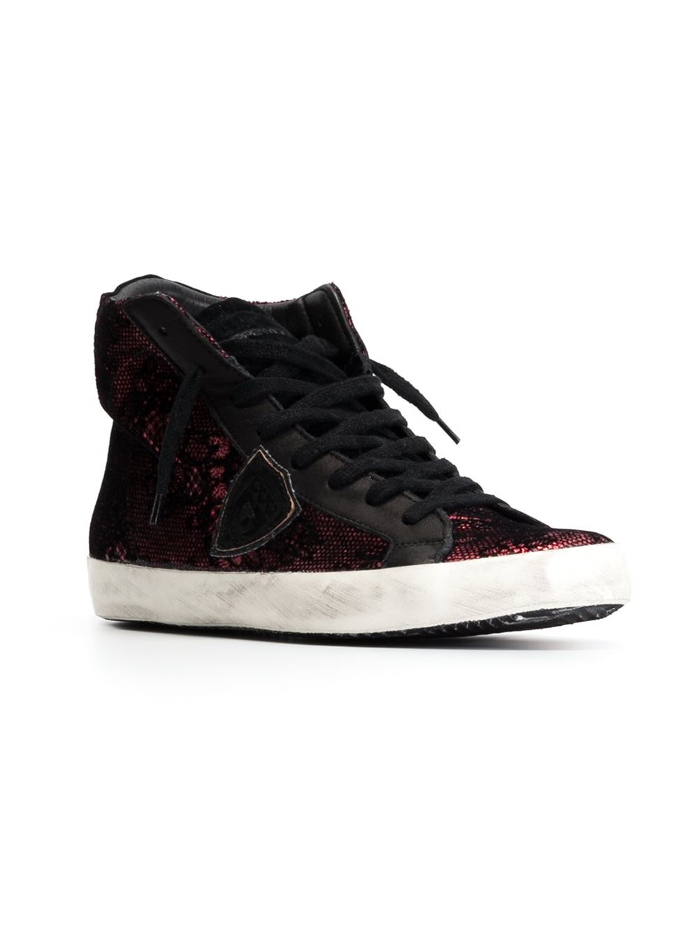 philippe model lace hi top sneakers in red lyst. Black Bedroom Furniture Sets. Home Design Ideas