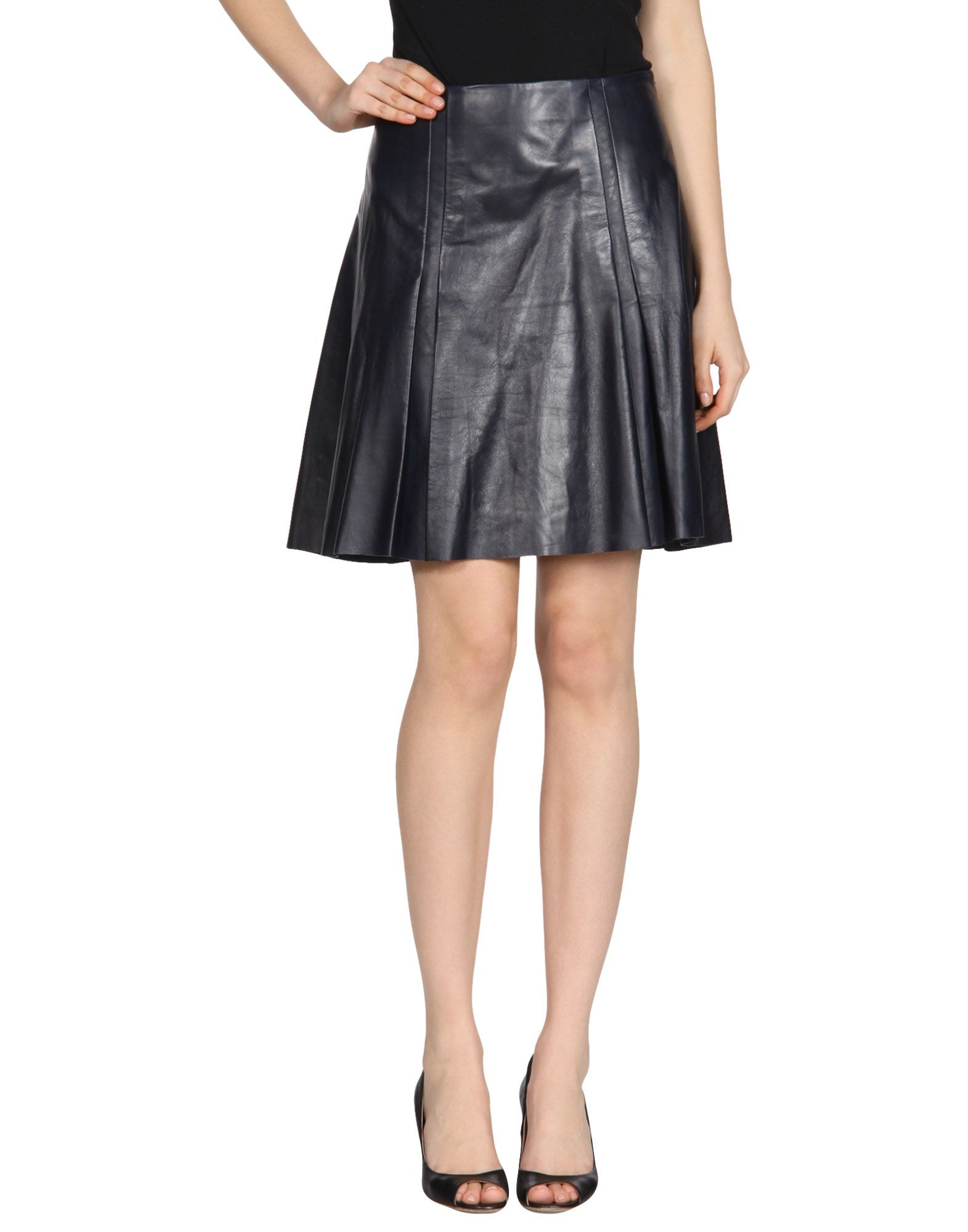 ohne titel leather skirt in blue blue lyst