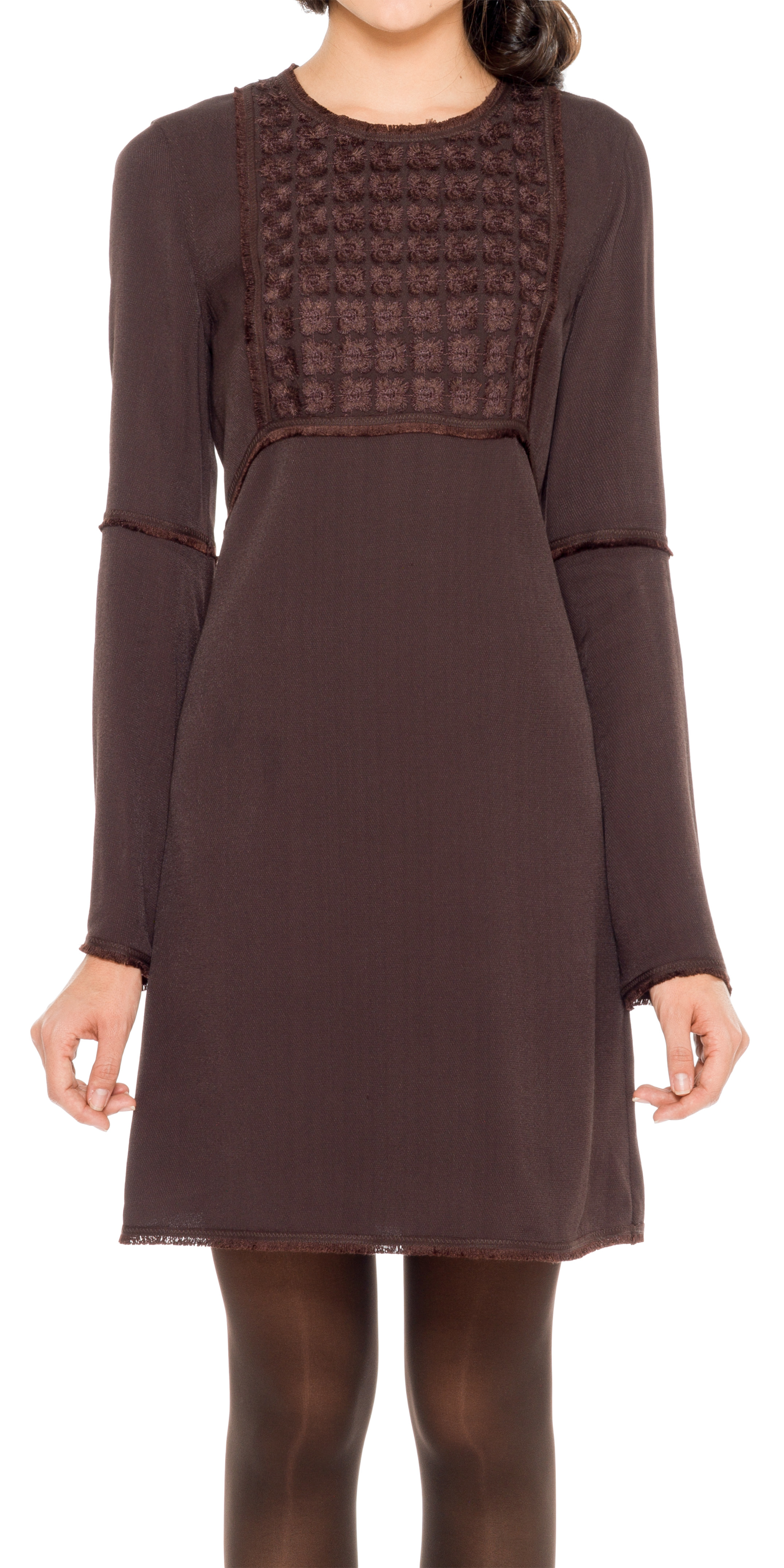 Leon max embroidered viscose twill flared sleeved dress in