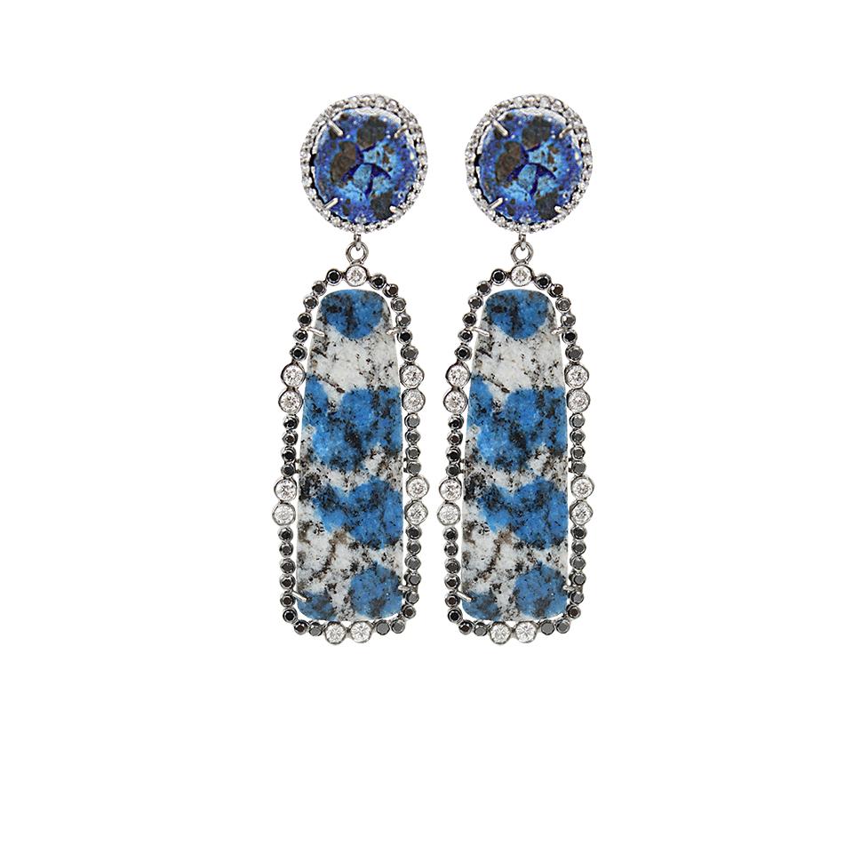 lyst colette azurite black and white diamond earrings. Black Bedroom Furniture Sets. Home Design Ideas
