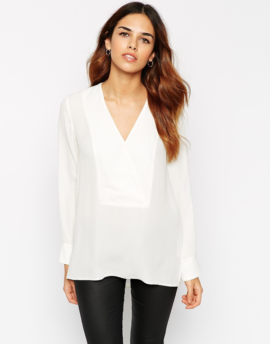 Asos Deep V Wrap Blouse in Natural | Lyst